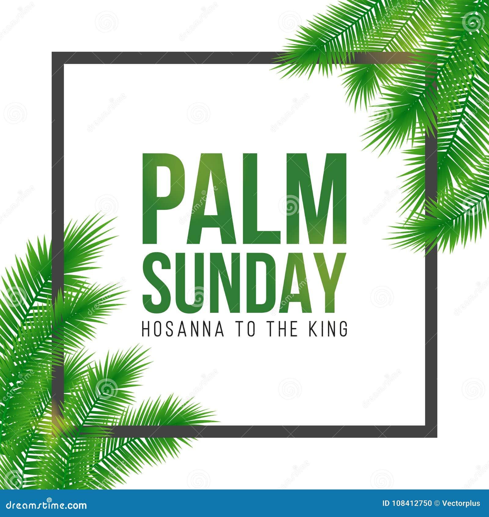 Carta di festa di Domenica delle Palme, manifesto con il confine delle foglie di palma, struttura Fondo di vettore