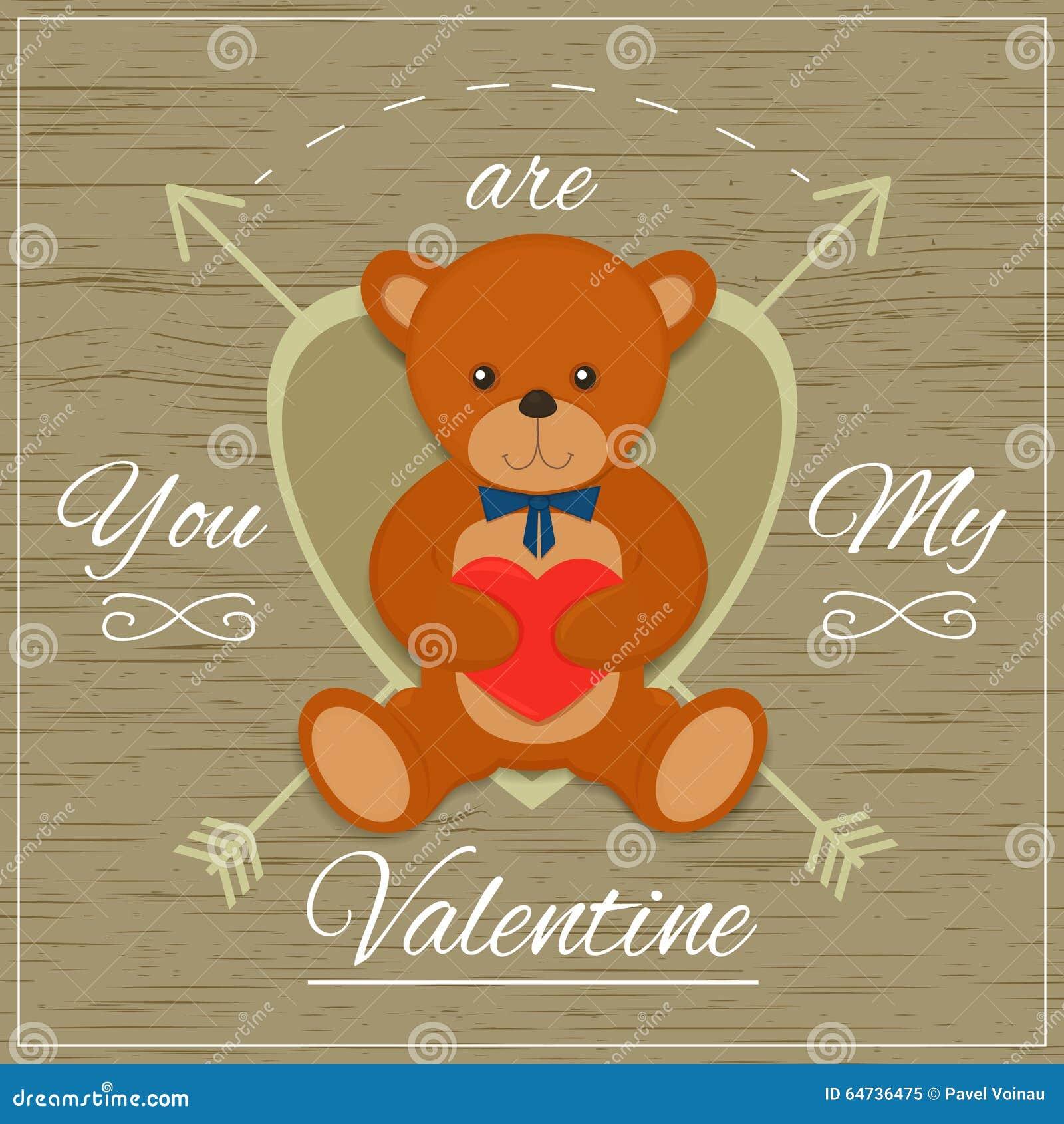 Carta di giorno di biglietti di S. Valentino con l orsacchiotto Illustrazione di vettore