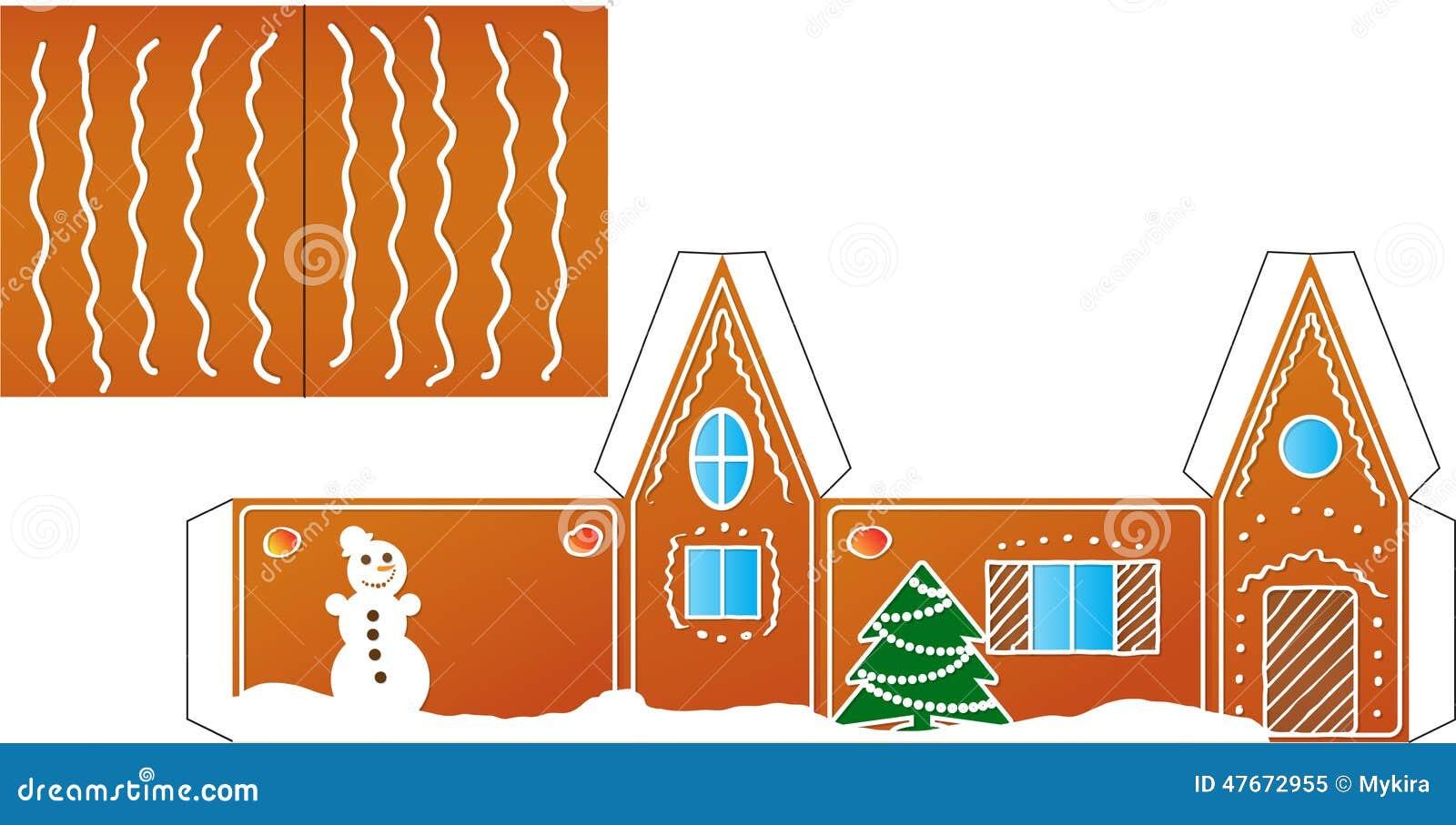 Carta di modello piegata della casa di pan di zenzero for Modello di casa