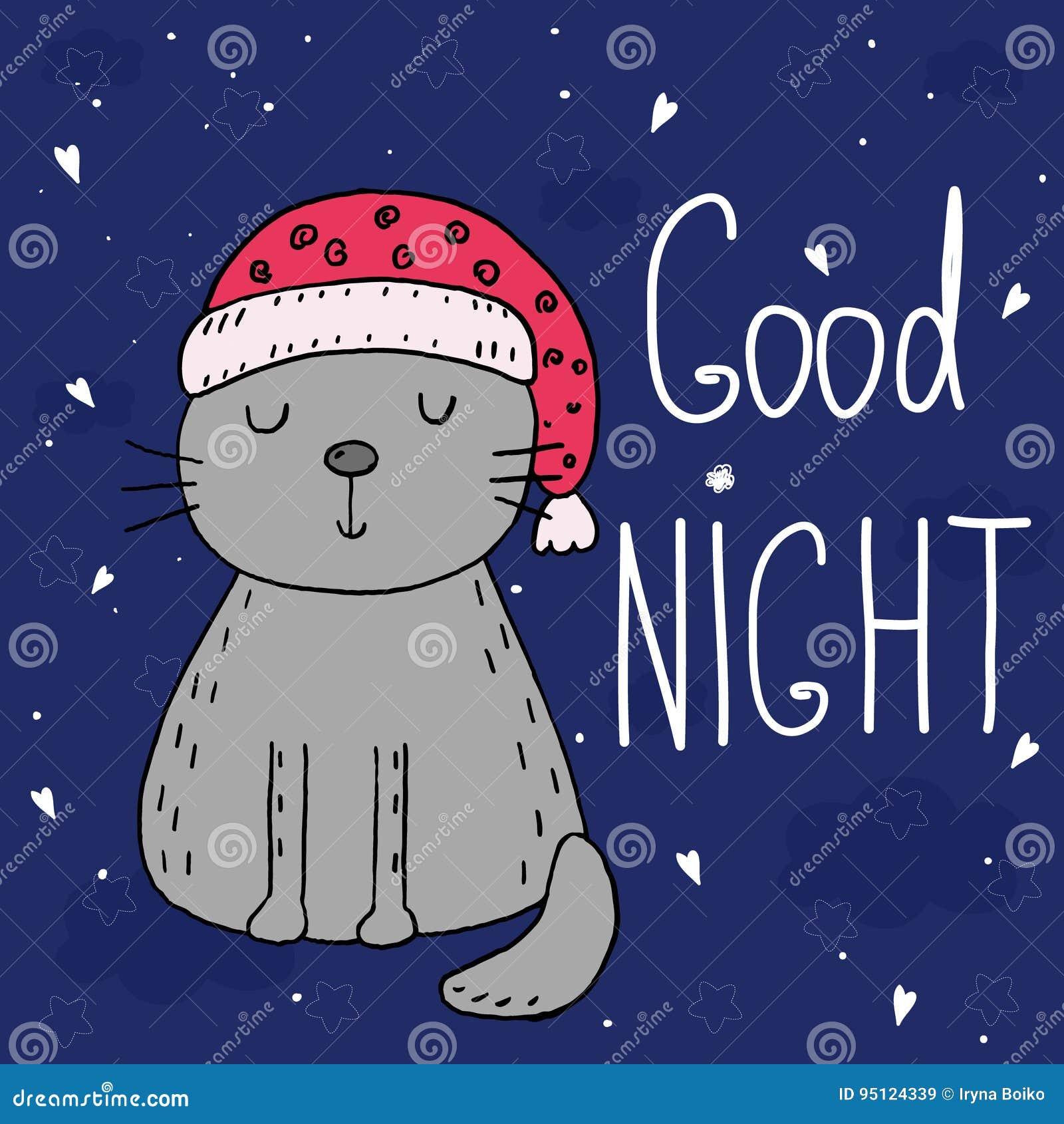 Carta Di Vettore Della Buona Notte Con Il Gatto Divertente
