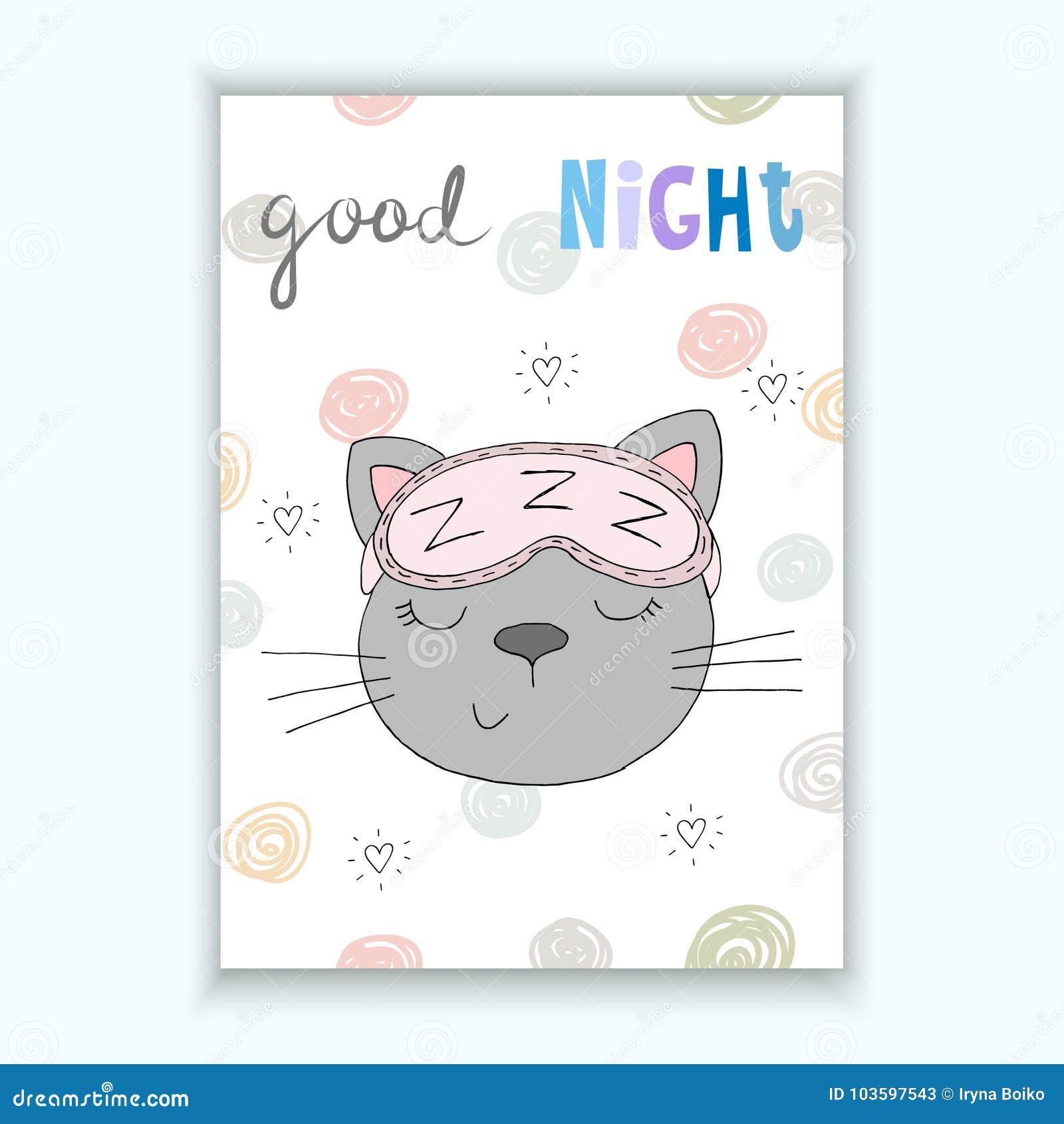 Carta Di Vettore Della Buona Notte Con Il Gatto Sveglio