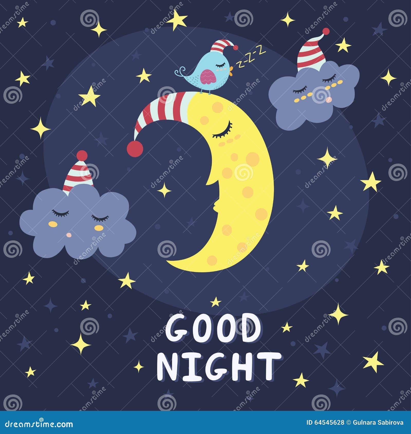 Carta Di Vettore Della Buona Notte Con La Luna Sveglia Di Sonno Le