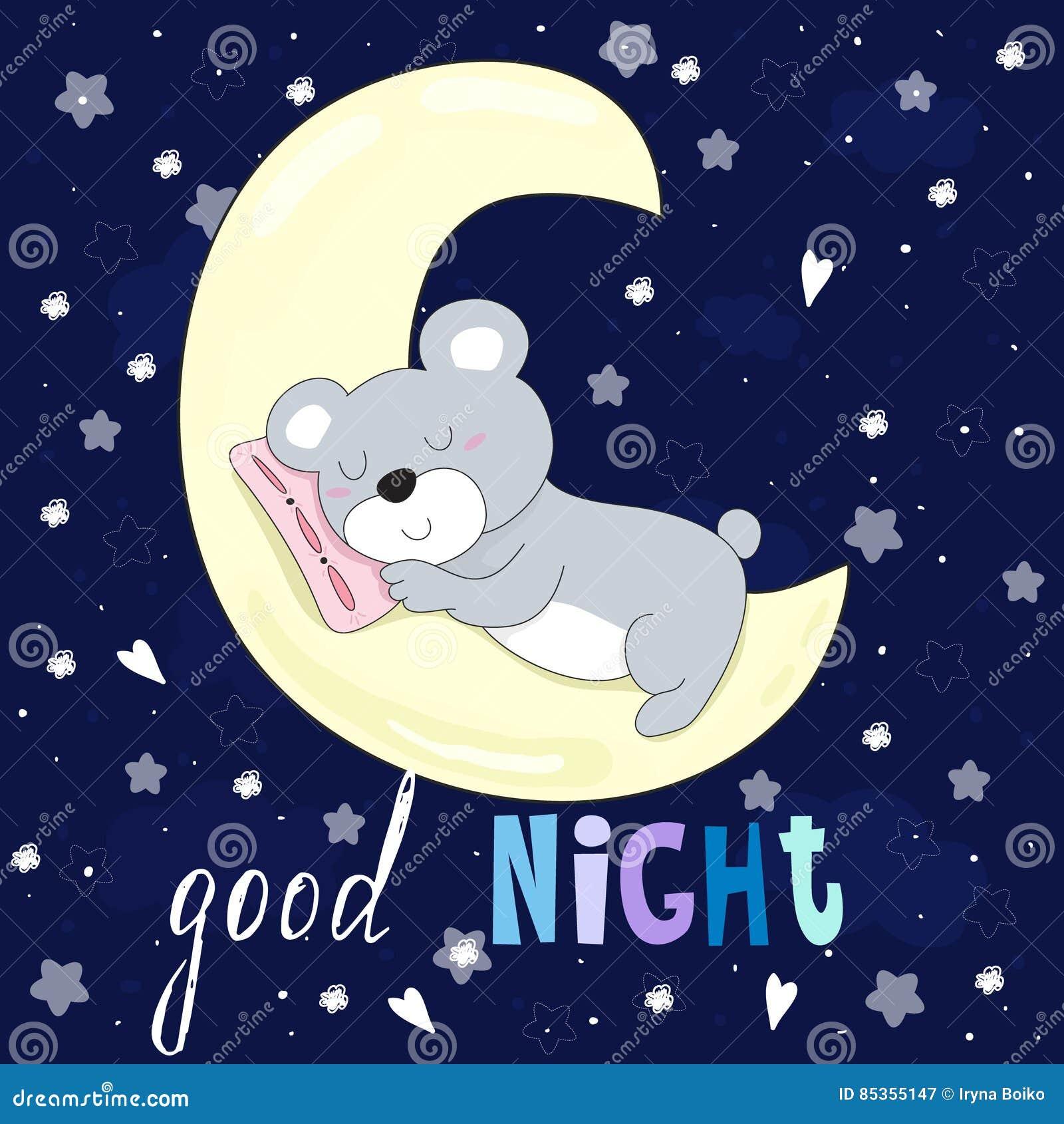 Carta Di Vettore Della Buona Notte Con Sonno Dellorso Sulla Luna