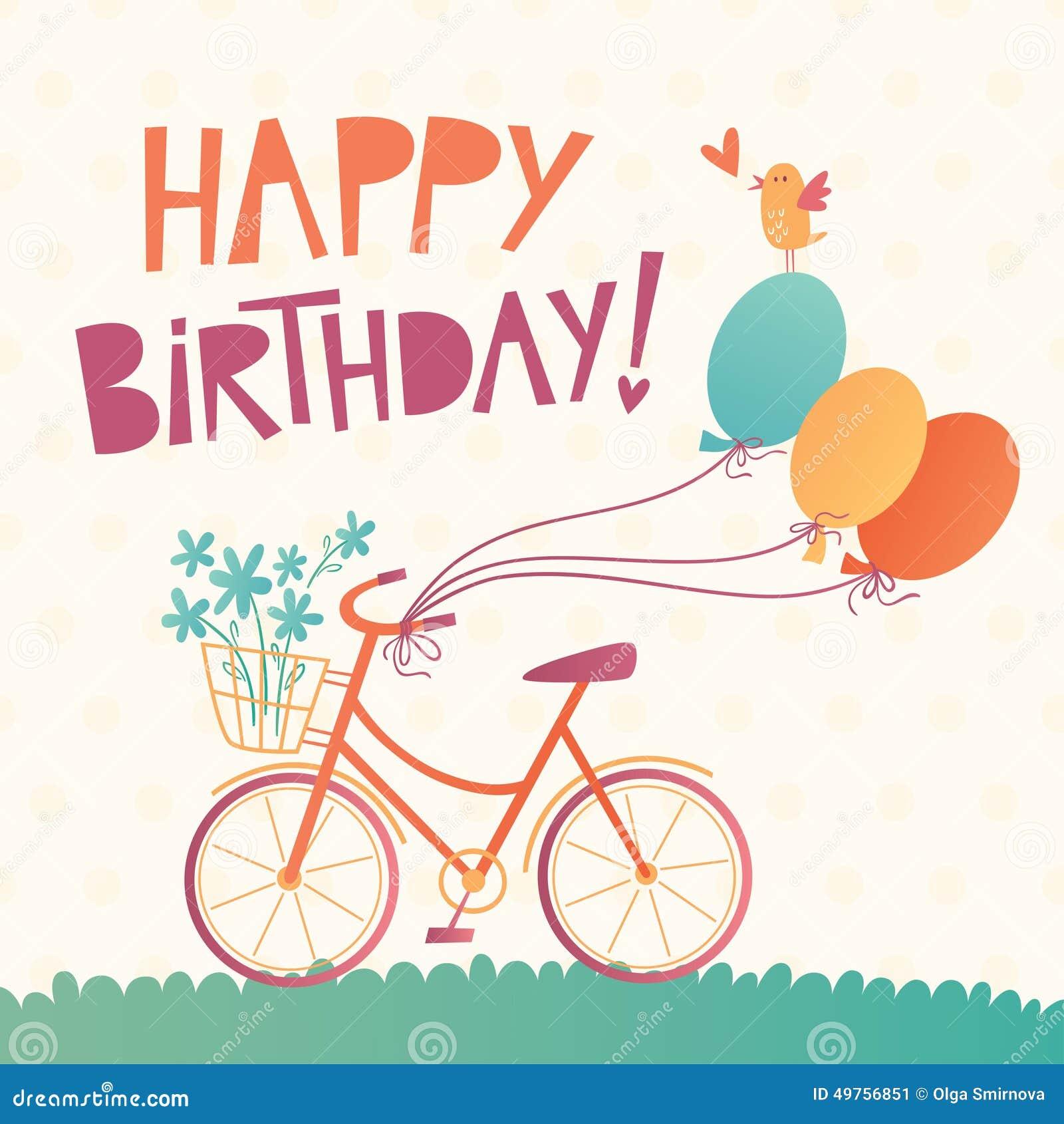 Carta Di Vettore Di Buon Compleanno Con Una Bicicletta Illustrazione
