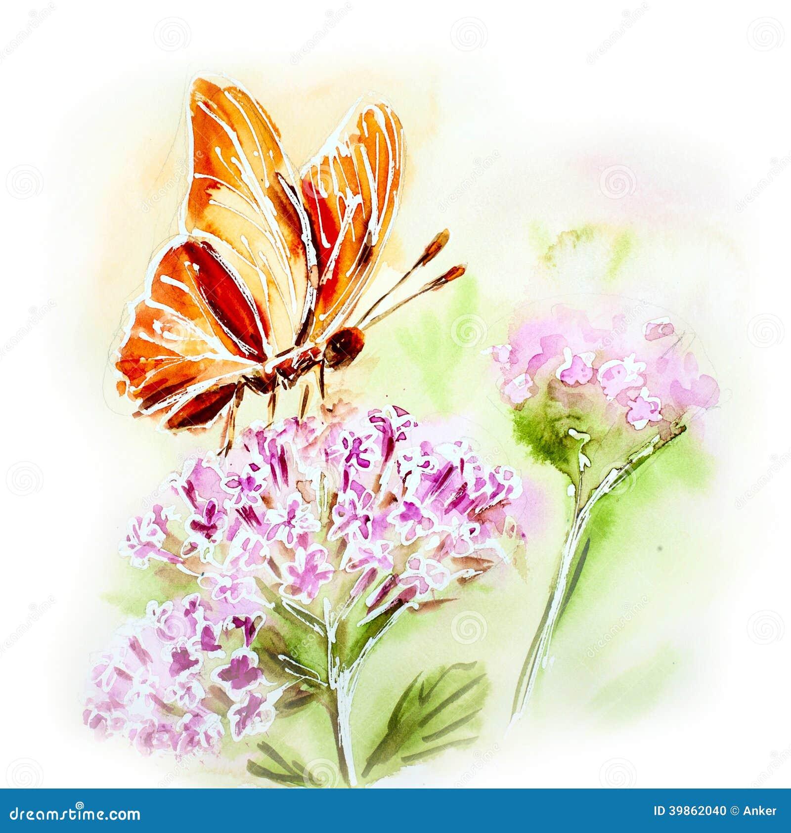Carta dipinta dell 39 acquerello con i fiori e la farfalla for Fiori con la l