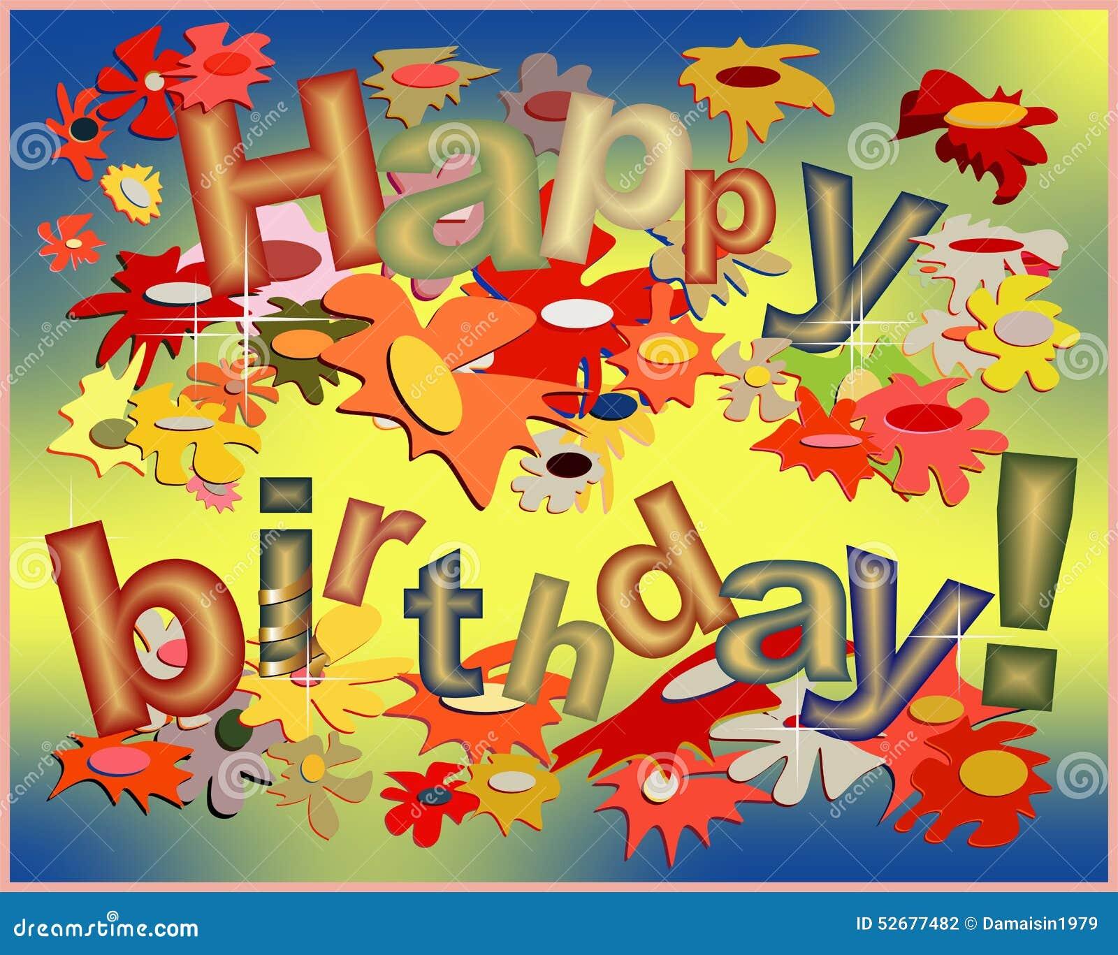Carta Divertente Di Buon Compleanno Illustrazione Vettoriale