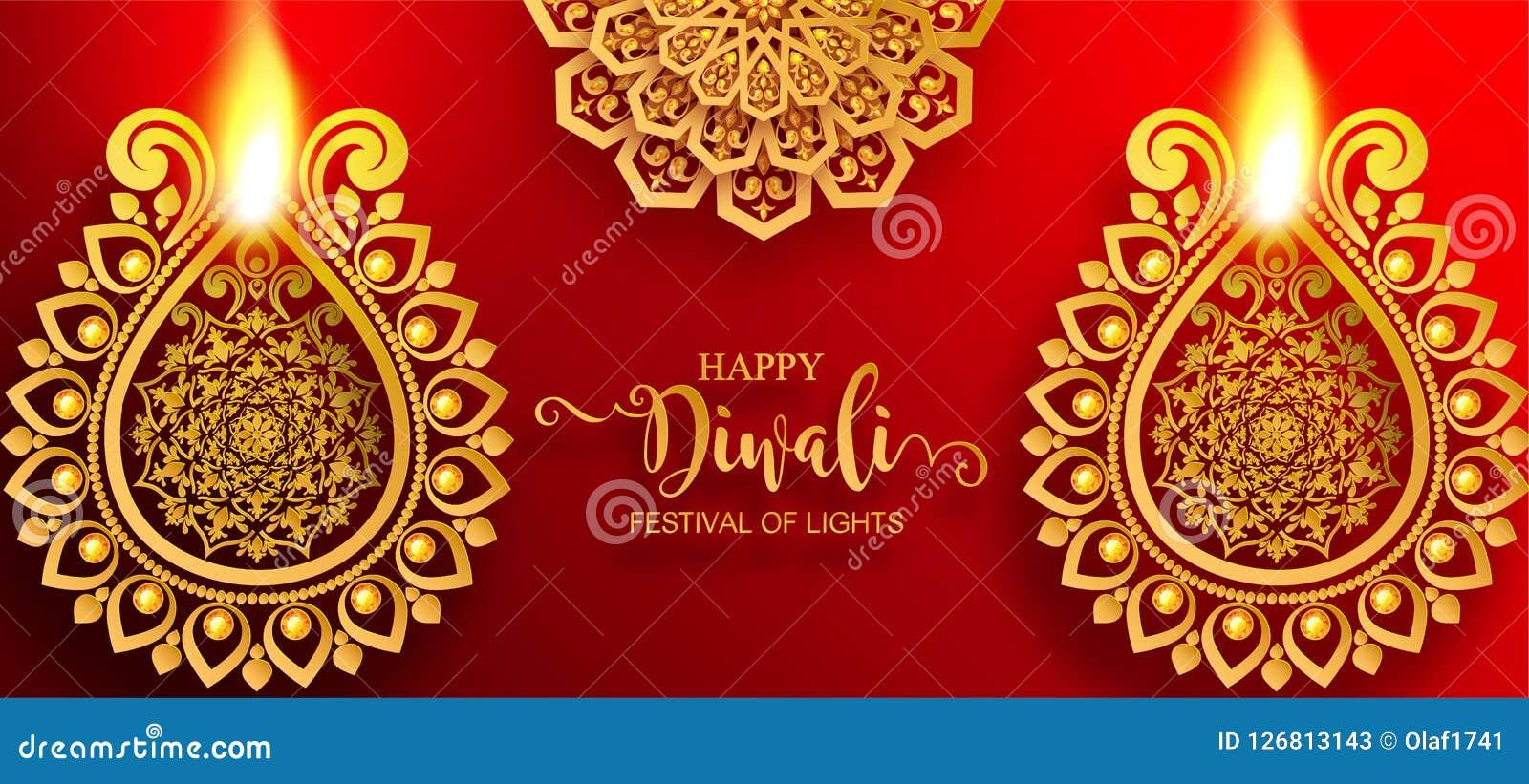 Carta felice di festival di Diwali Illustrazione Vettoriale