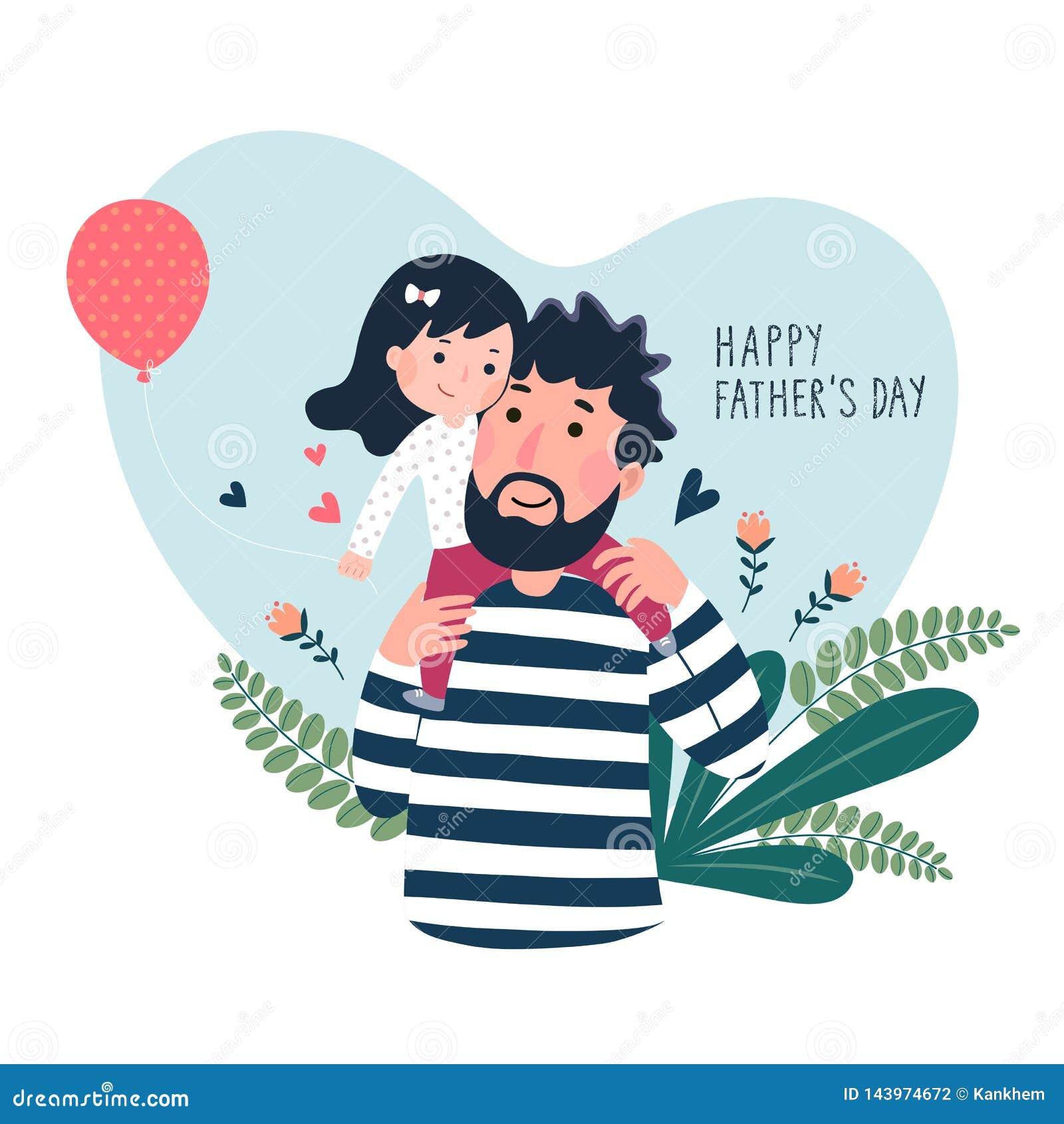 Carta felice di giorno dei father's Bambina sveglia sulla sua spalla dei father's nel cuore a forma di