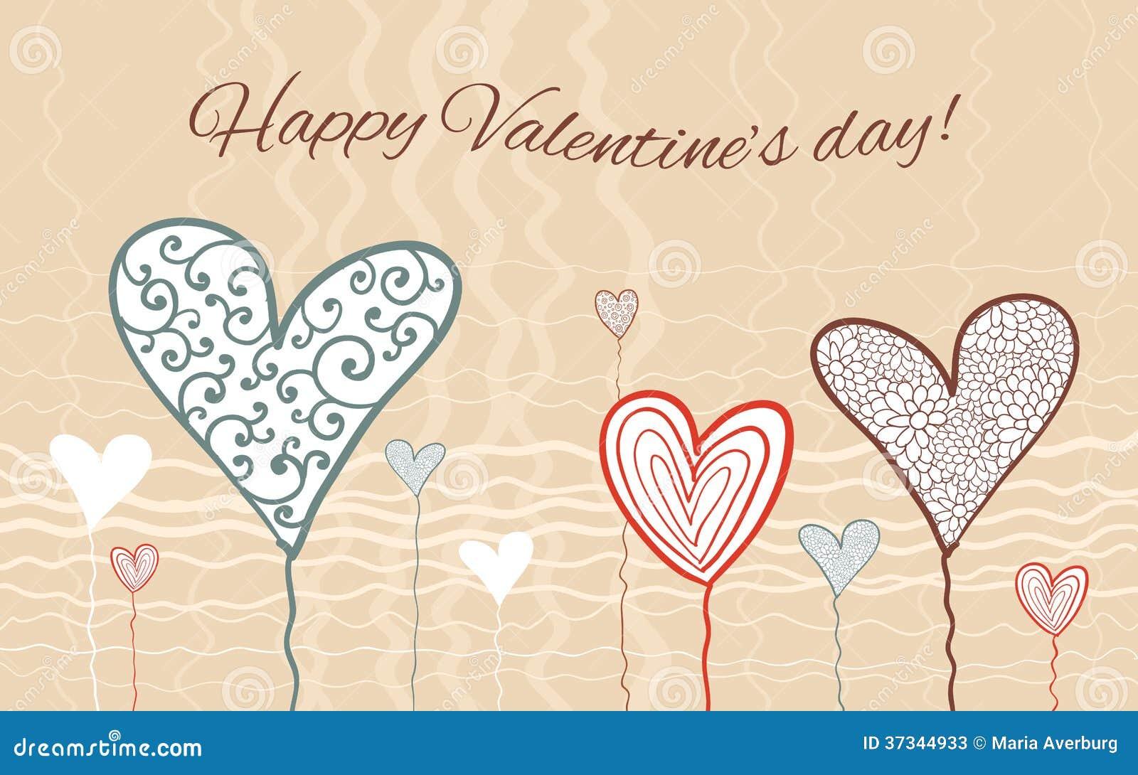 Carta felice di giorno di biglietti di S. Valentino.