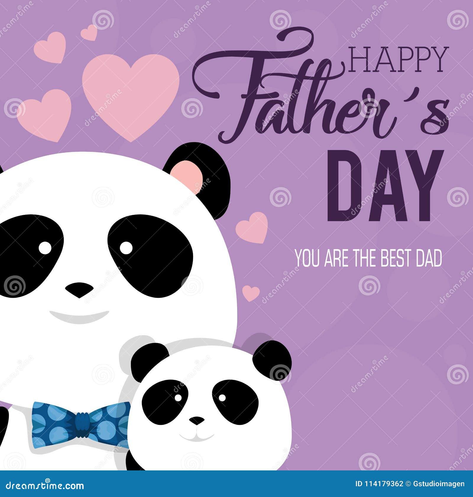 Carta felice di giorno di padri con gli orsi di panda