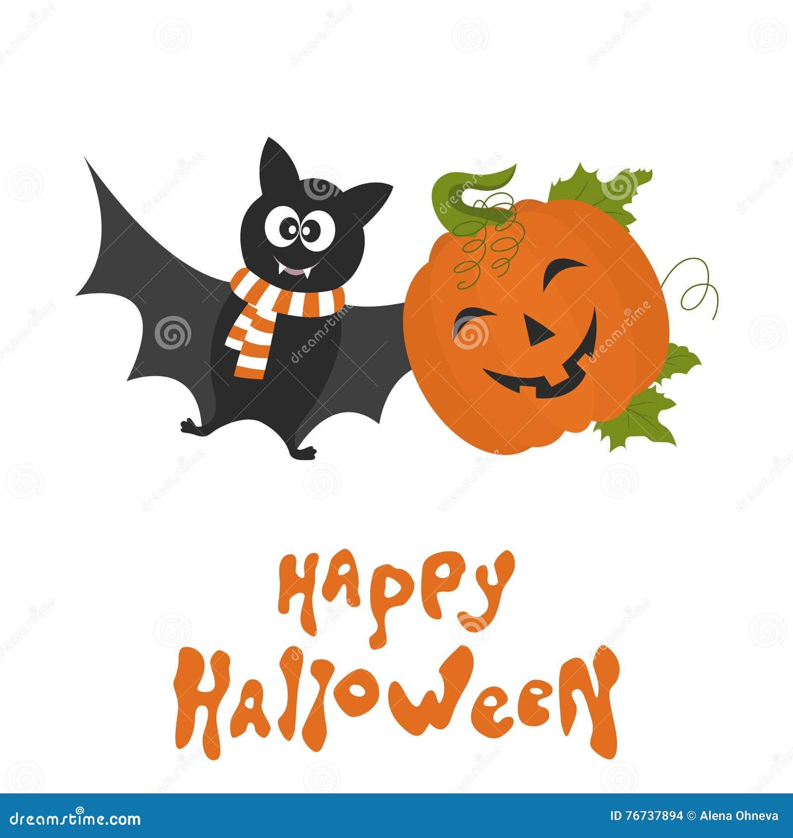 Immagine Zucca Di Halloween 94.Carta Felice Di Halloween Con La Zucca Ed Il Pipistrello Svegli Del