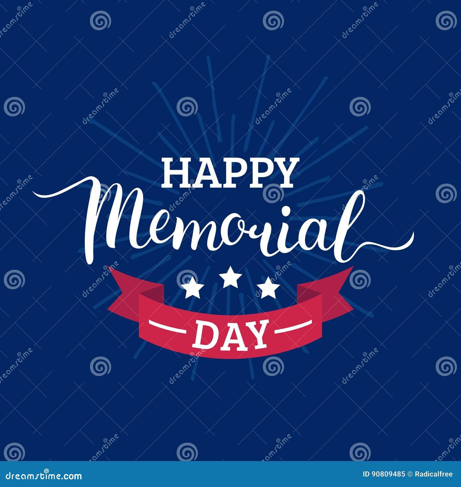 Carta felice di Memorial Day di vettore Illustrazione americana nazionale di festa con i raggi, stelle Manifesto festivo con l is