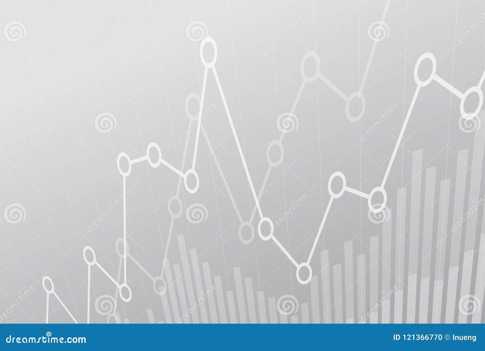 Carta financeira abstrata com gráfico linear uptrend no fundo cinzento