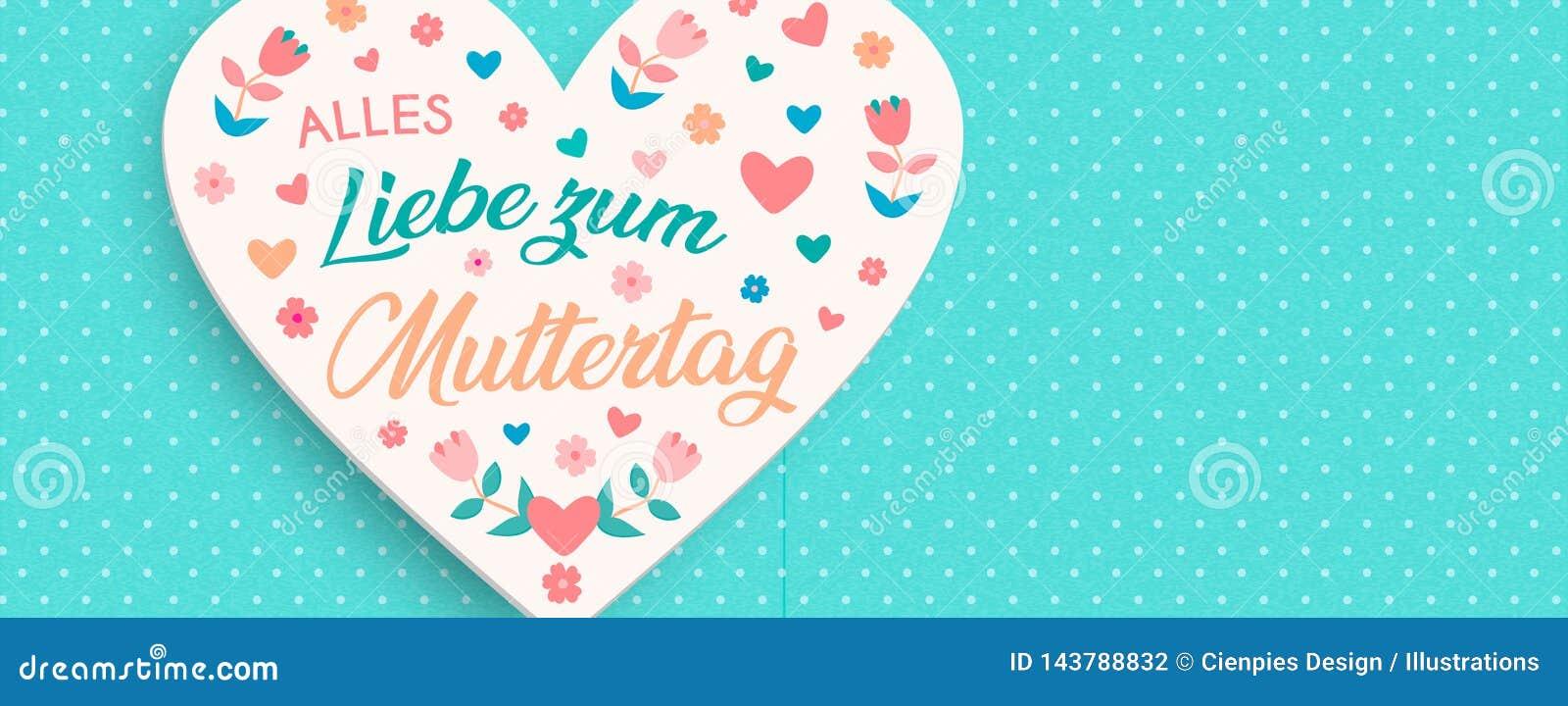 Carta floreale tedesca di giorno di madri per amore delle mamme