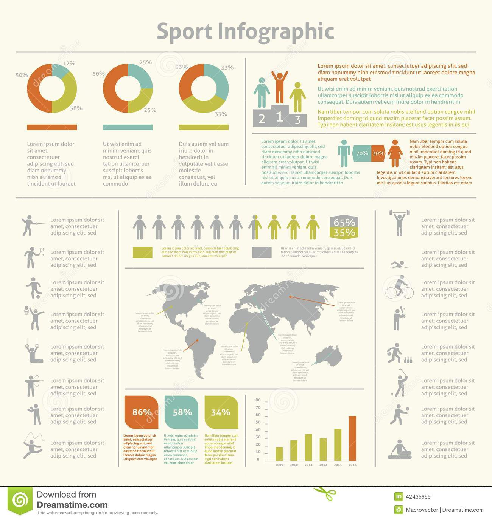 Carta infographic de la plantilla del deporte