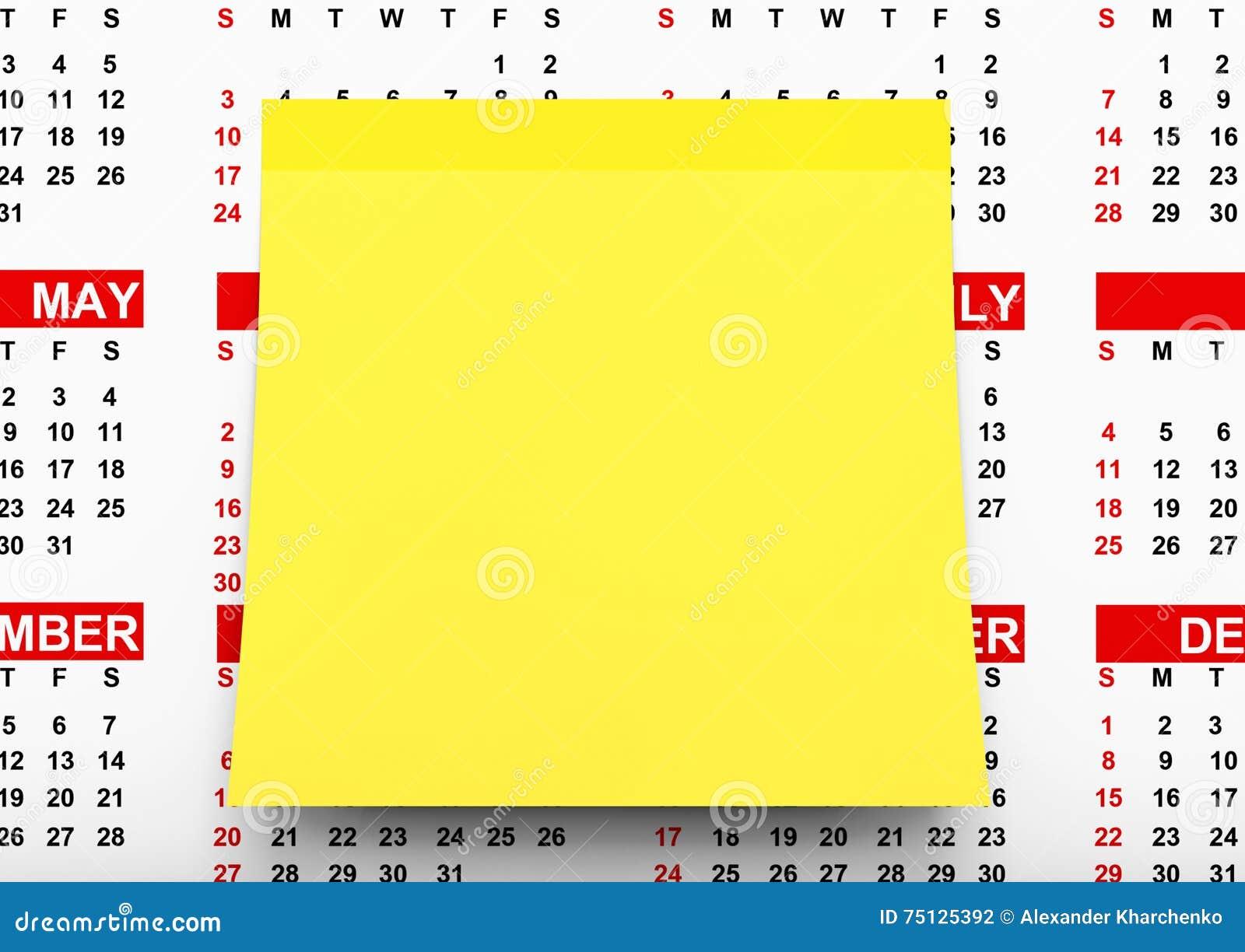 Calendario Per Appunti.Carta Per Appunti Gialla Sopra Il Calendario