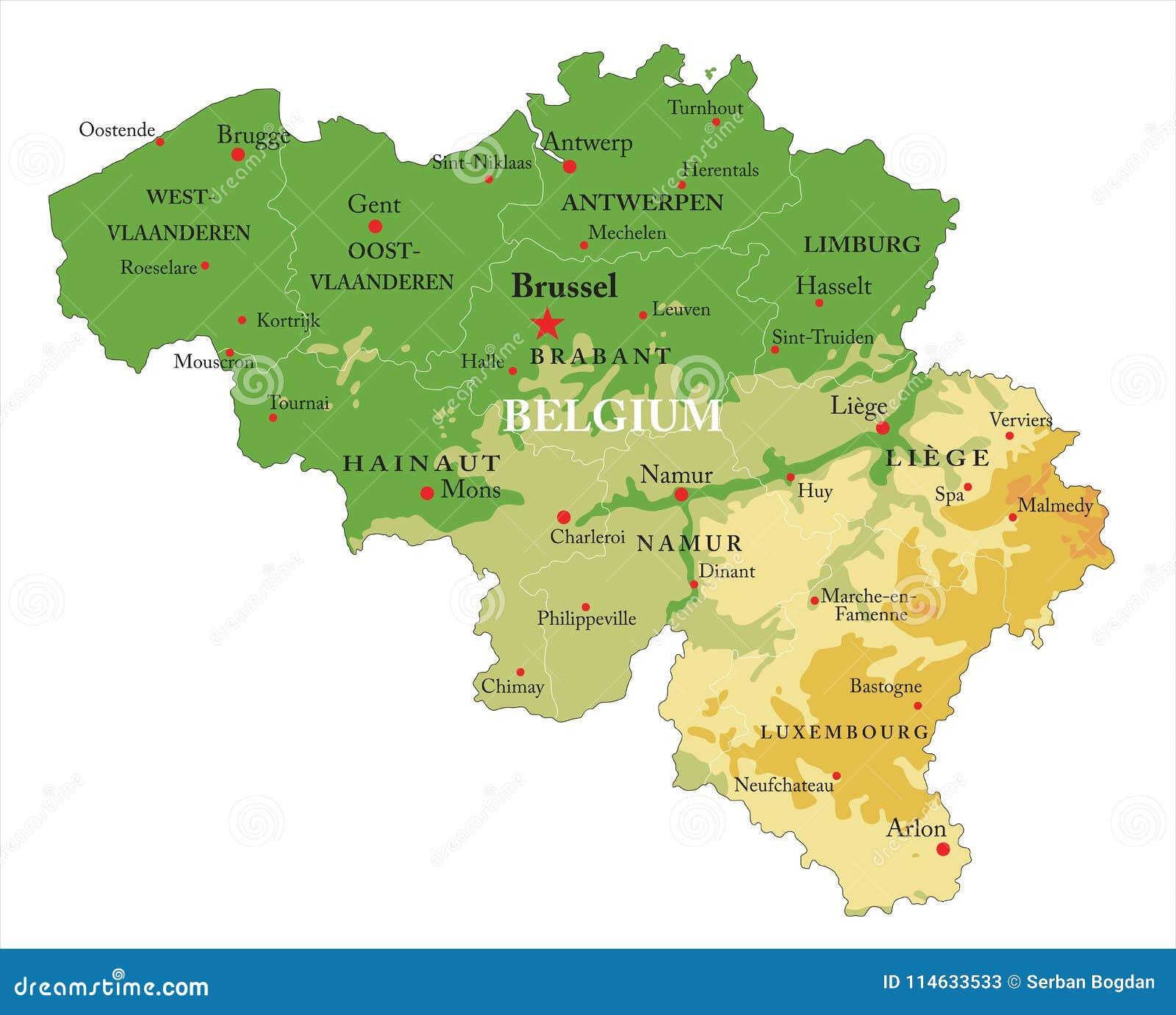 Cartina Fisica Belgio.Carta In Rilievo Del Belgio Illustrazione Vettoriale Illustrazione Di Cartografia Paga 114633533