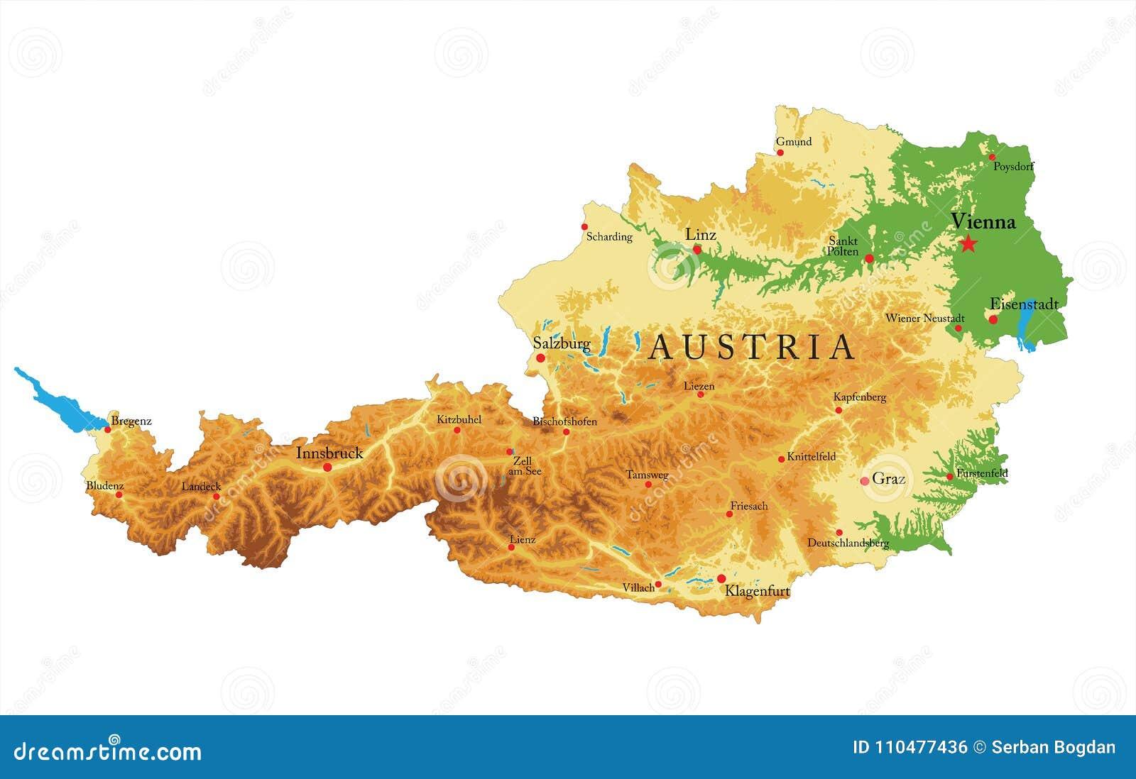 Cartina Fisica Austria.Carta In Rilievo Dell Austria Illustrazione Vettoriale