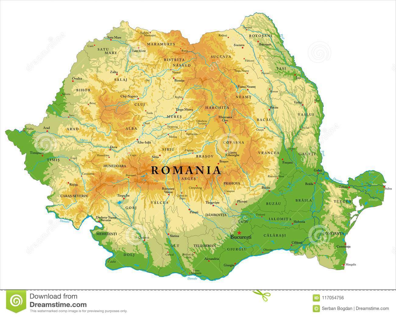 Cartina Romania Regioni.Carta In Rilievo Della Romania Illustrazione Vettoriale Illustrazione Di Collina Bucarest 117054756