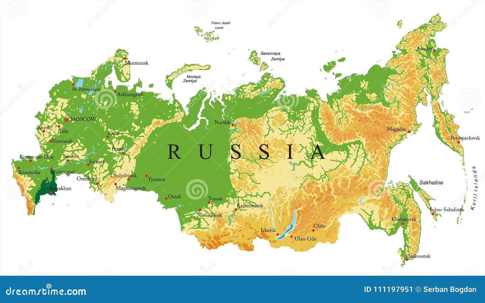 Cartina Russia Regioni.Carta In Rilievo Della Russia Illustrazione Vettoriale Illustrazione Di Collina Transcaucasia 111197951