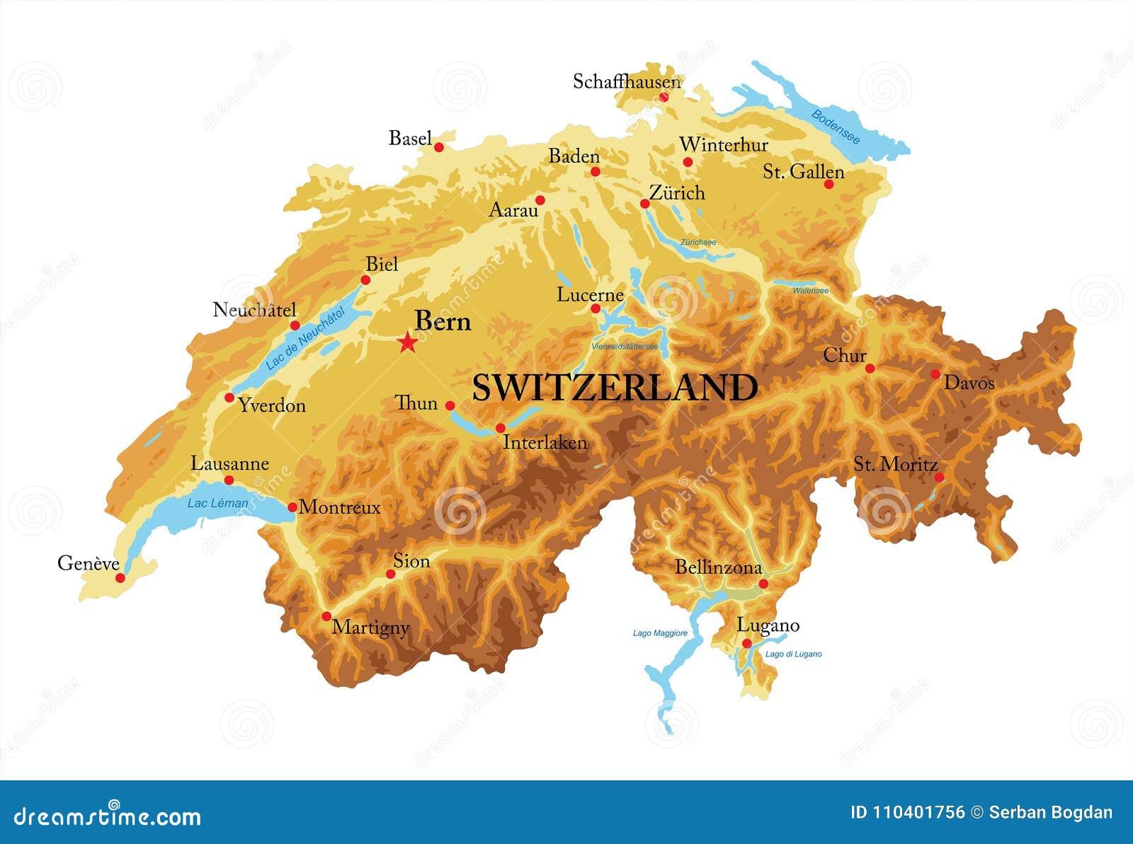 Dettagliata Cartina Della Svizzera.Carta In Rilievo Della Svizzera Illustrazione Vettoriale Illustrazione Di Background Europa 110401756