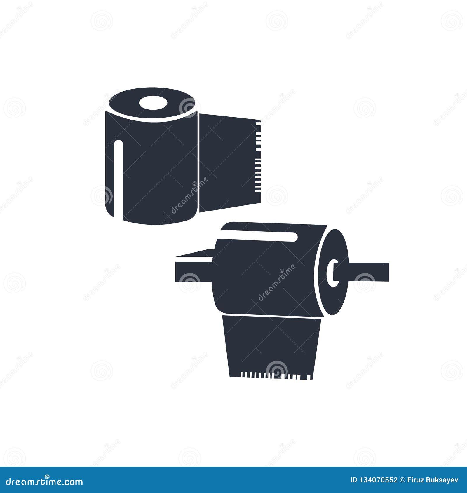 Carta rotolata per il segno ed il simbolo di vettore dell icona del bagno isolata su fondo bianco, carta rotolata per il concetto