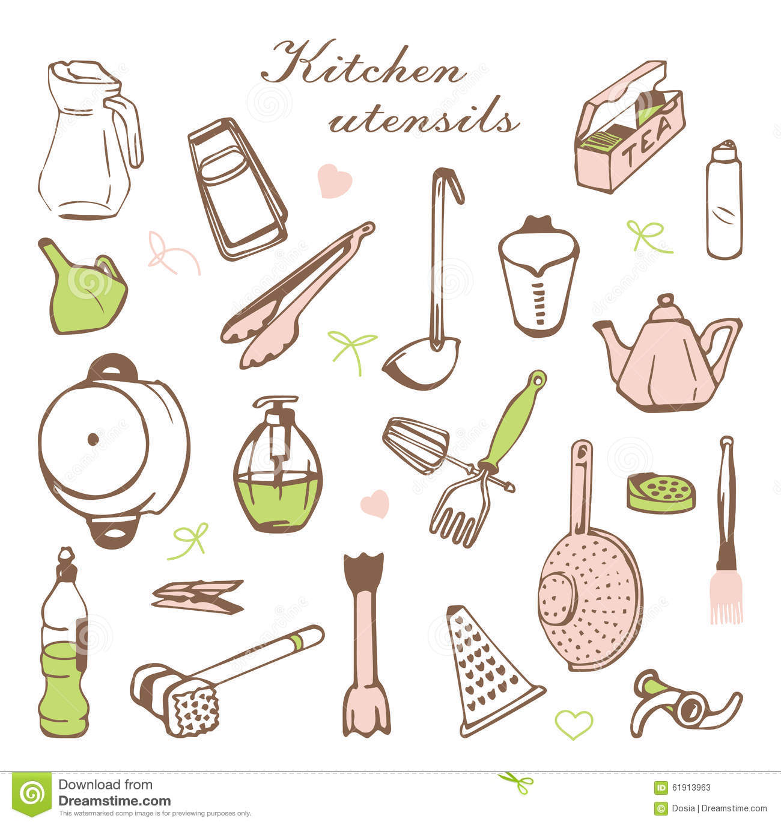 Carta stilizzata con gli scaffali e gli utensili da cucina for Kit utensili da cucina