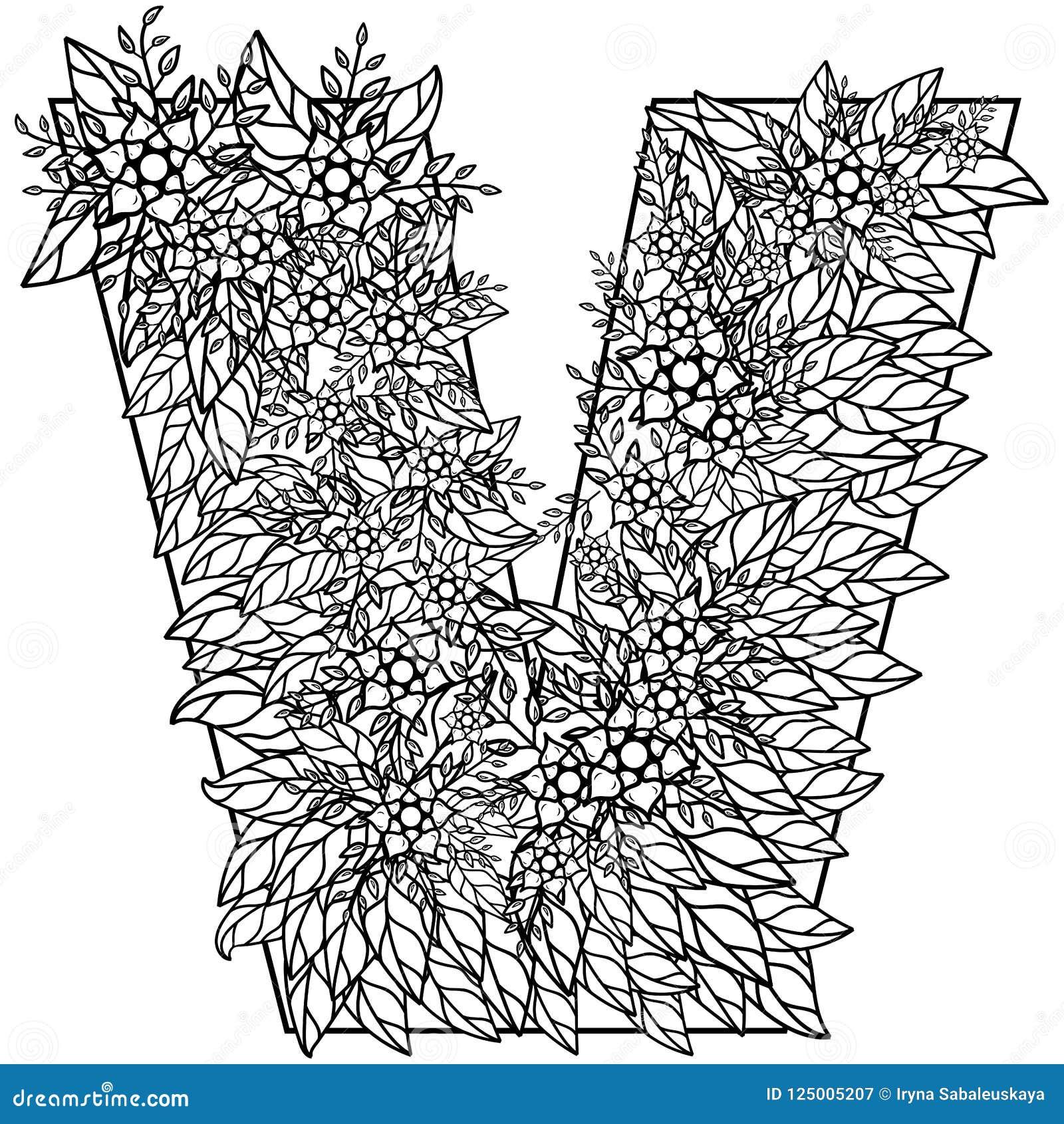 Carta V Dibujo De Dudling Mandala Alfabeto En El Estilo De Dudling