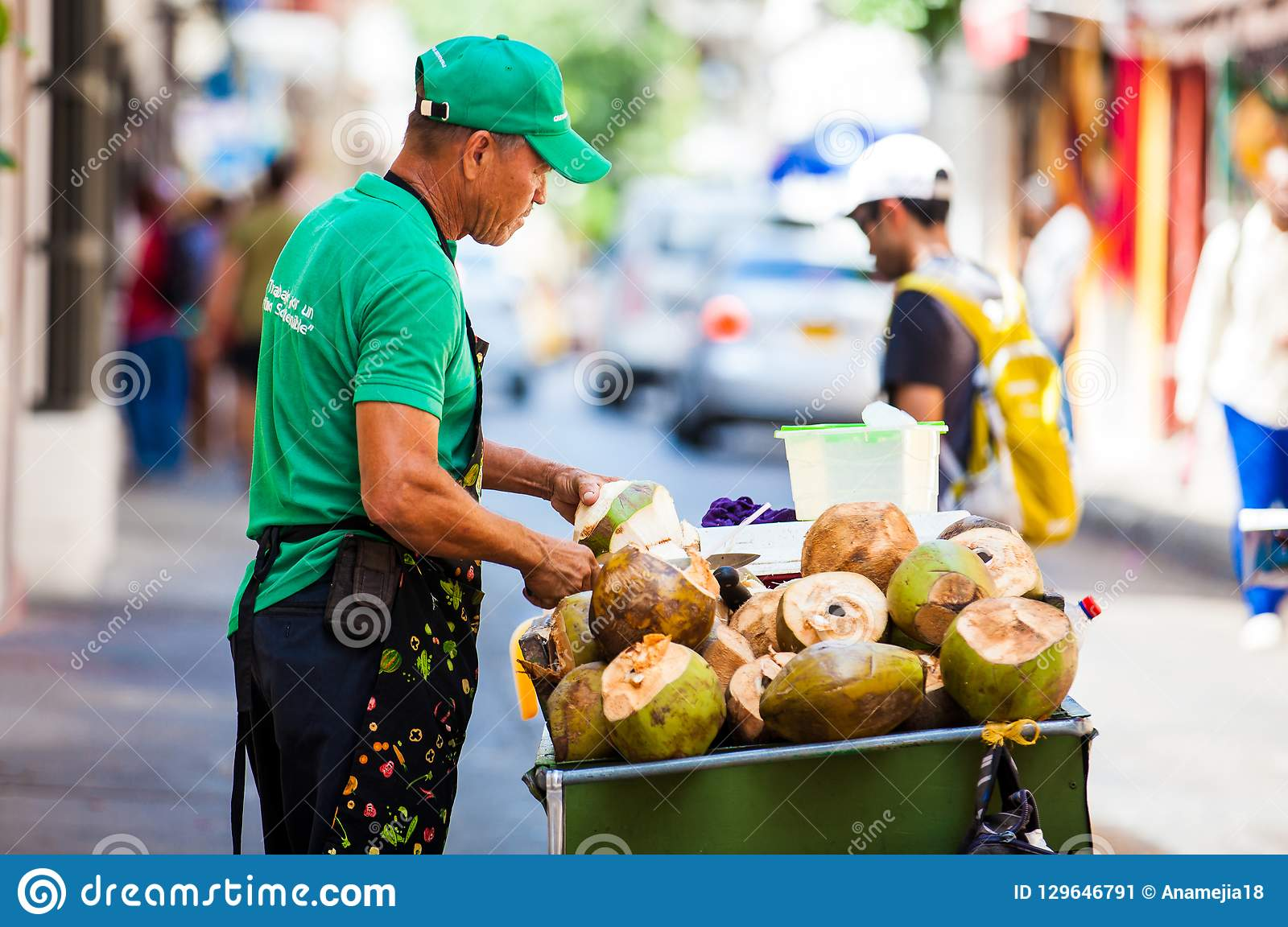 Street Sale Of Coconut Water In Cartagena De Indias