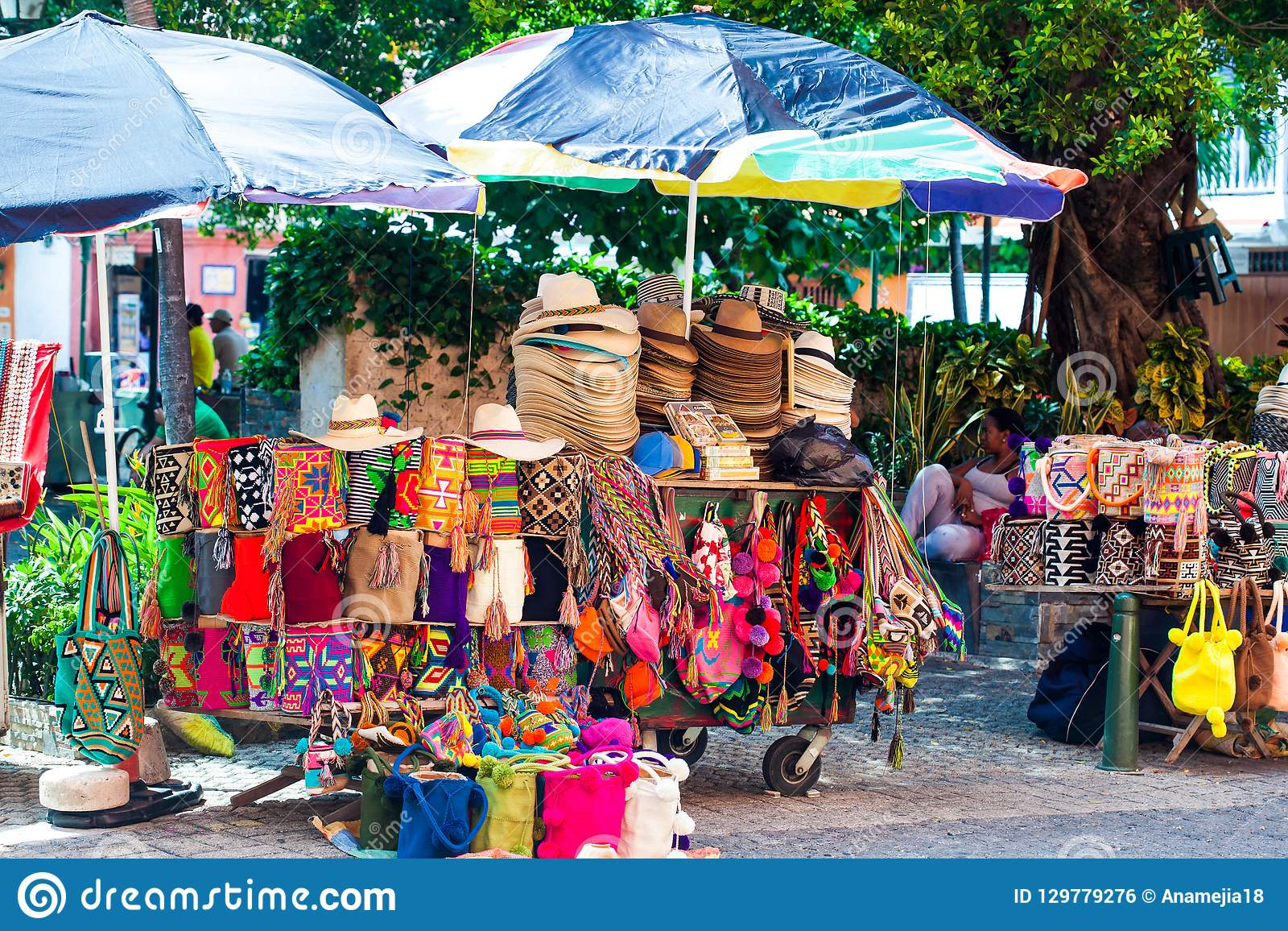 Street Sell Of Colombian Typical Handicrafts In The Walled City In