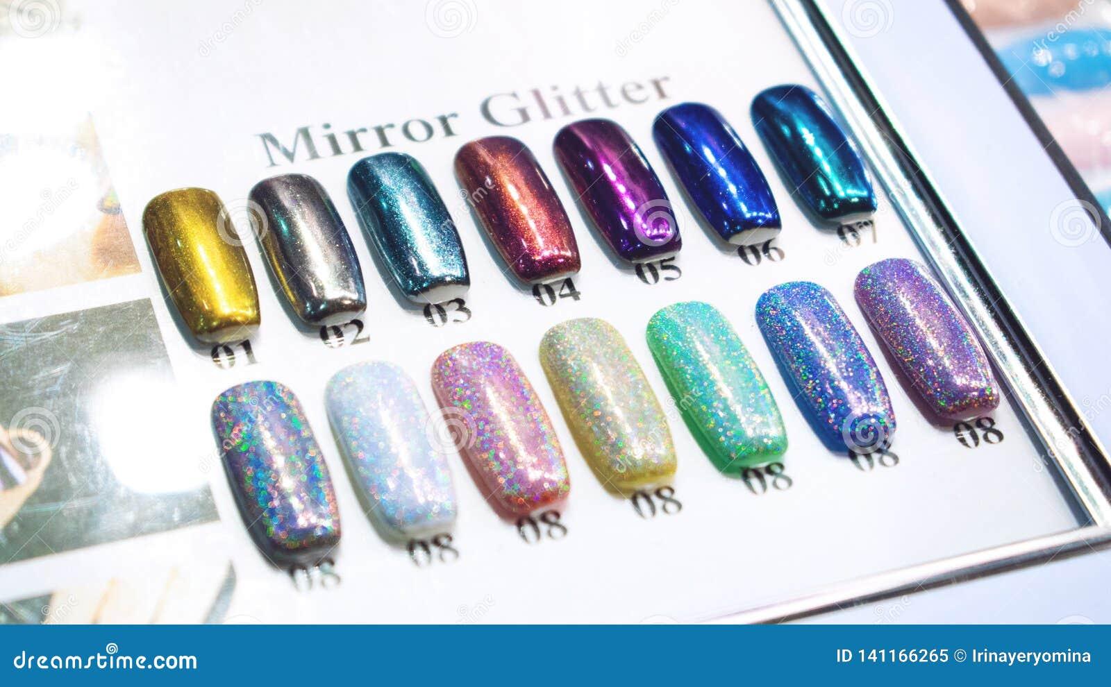 Cartas De Color Del Esmalte De Uñas Del Brillo Del Espejo