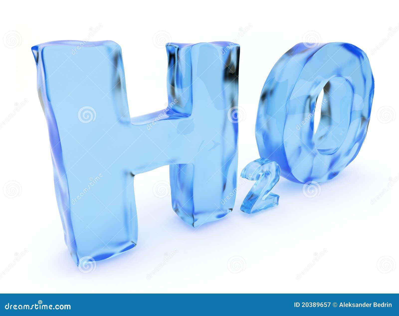 Cartas del agua de H2O. Aislado, ilustración 3D