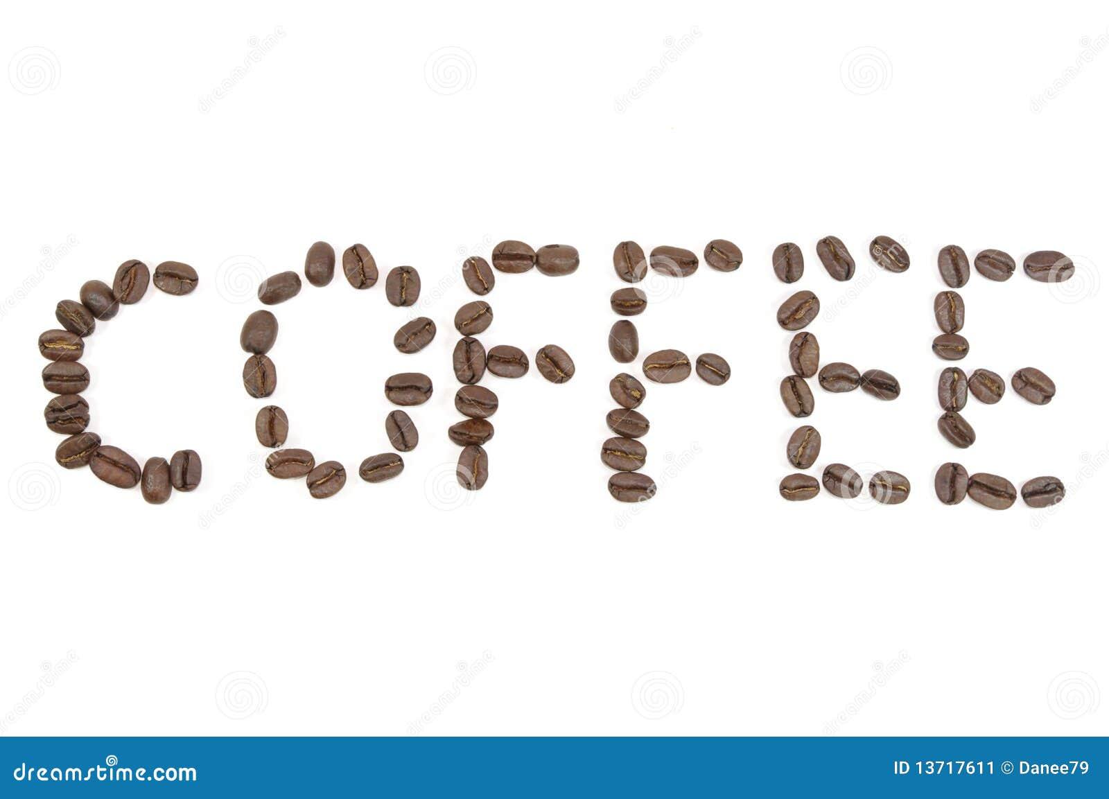Cartas del café hechas por los granos de café