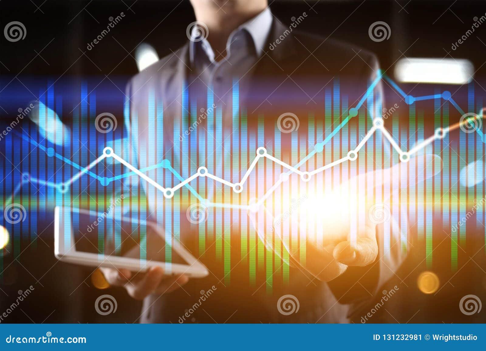 Cartas económicas y gráficos de la exposición doble en la pantalla virtual Comercio, concepto en línea del negocio y de las finan