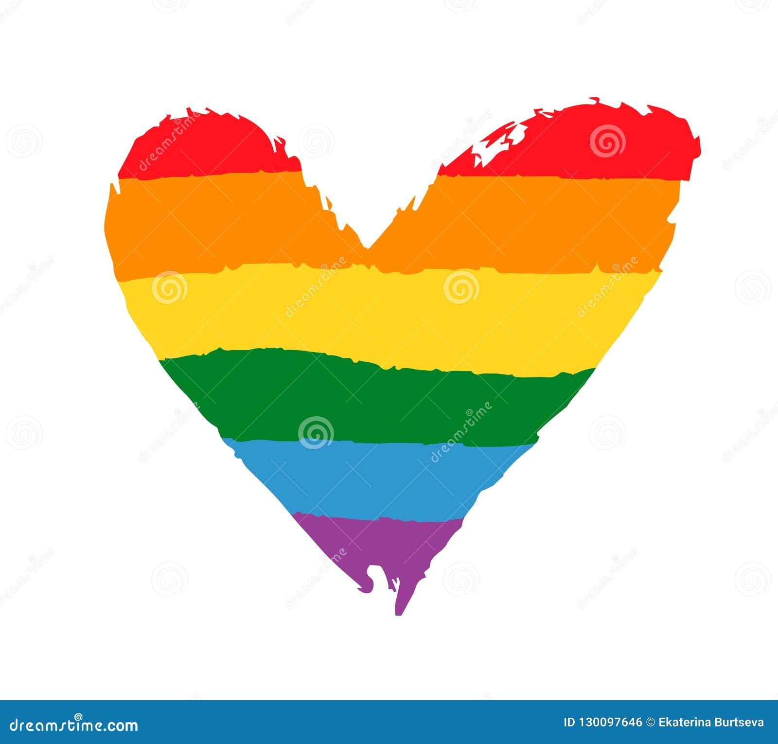 Cartaz alegre, lésbica do orgulho da comunidade com coração da bandeira do arco-íris LGBT endireita o conceito