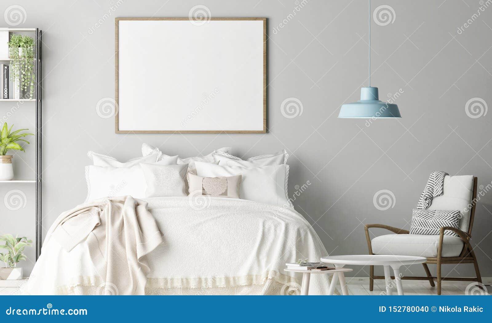 Cartaz ascendente trocista no quarto, decoração escandinava
