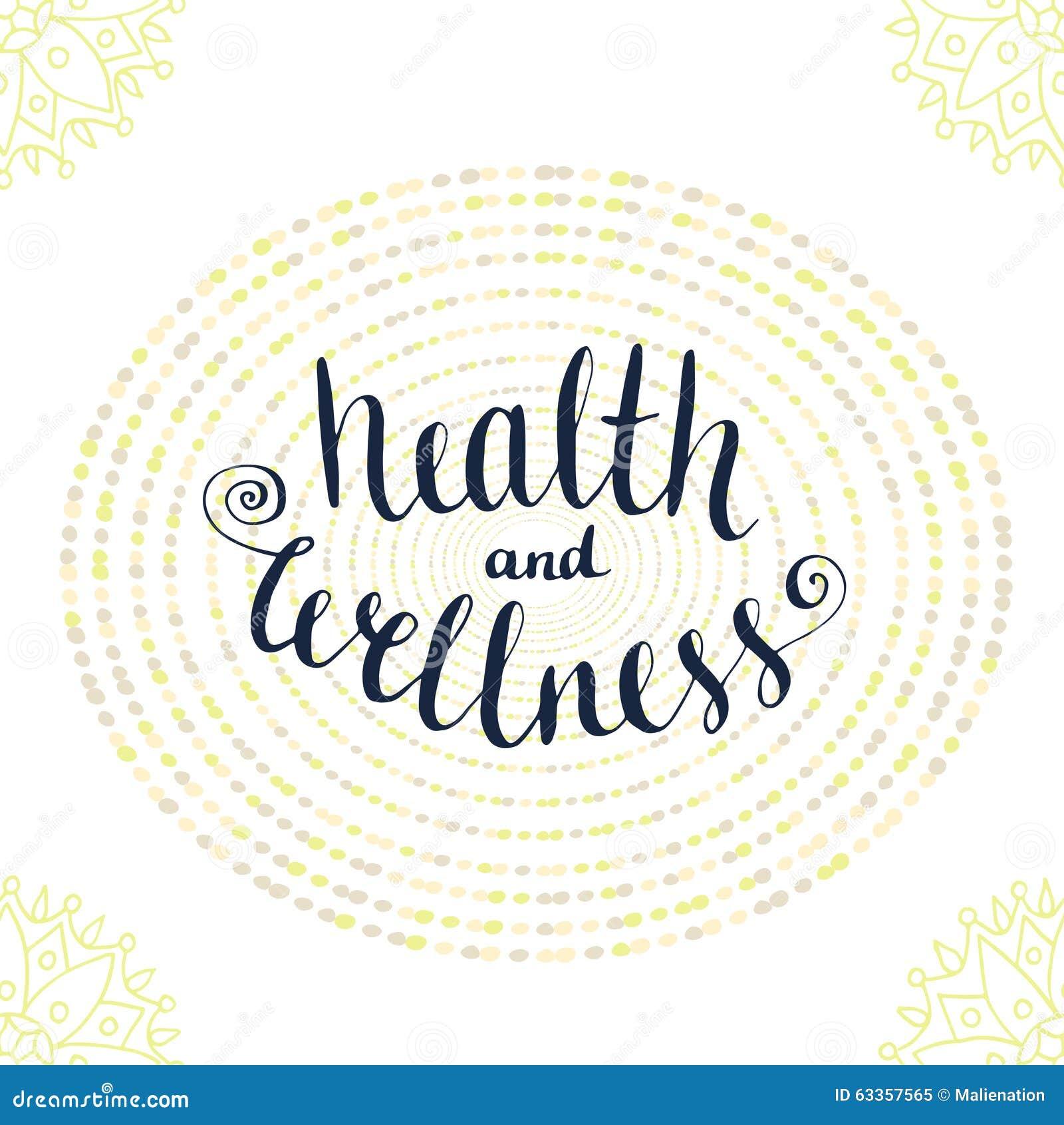 Cartaz Caligráfico Com Frase Saúde E Bem Estar Ilustração Do Vetor