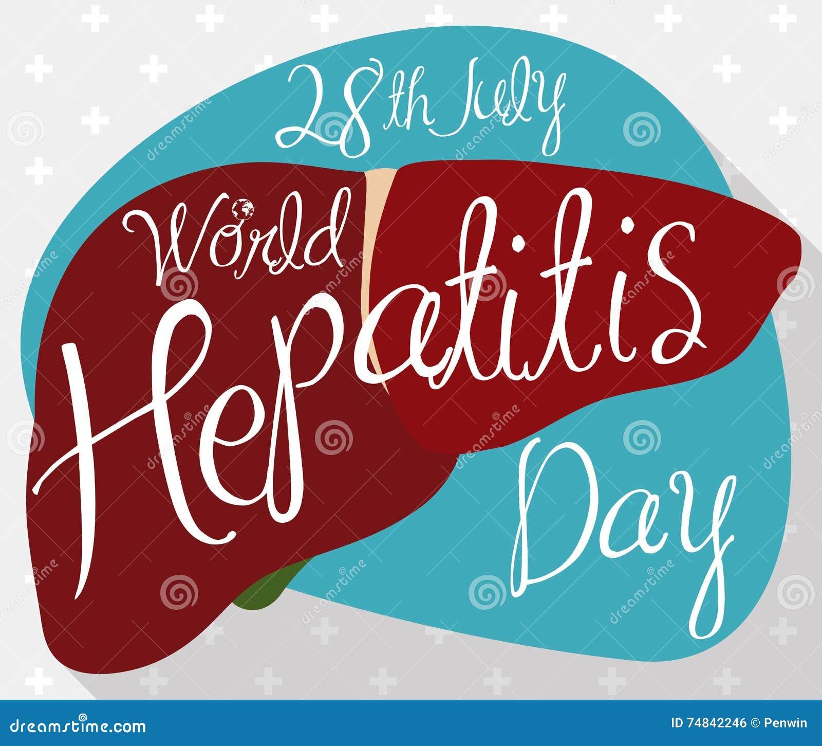 Cartaz com fígado saudável com lembrete do dia da hepatite do mundo, ilustração do vetor