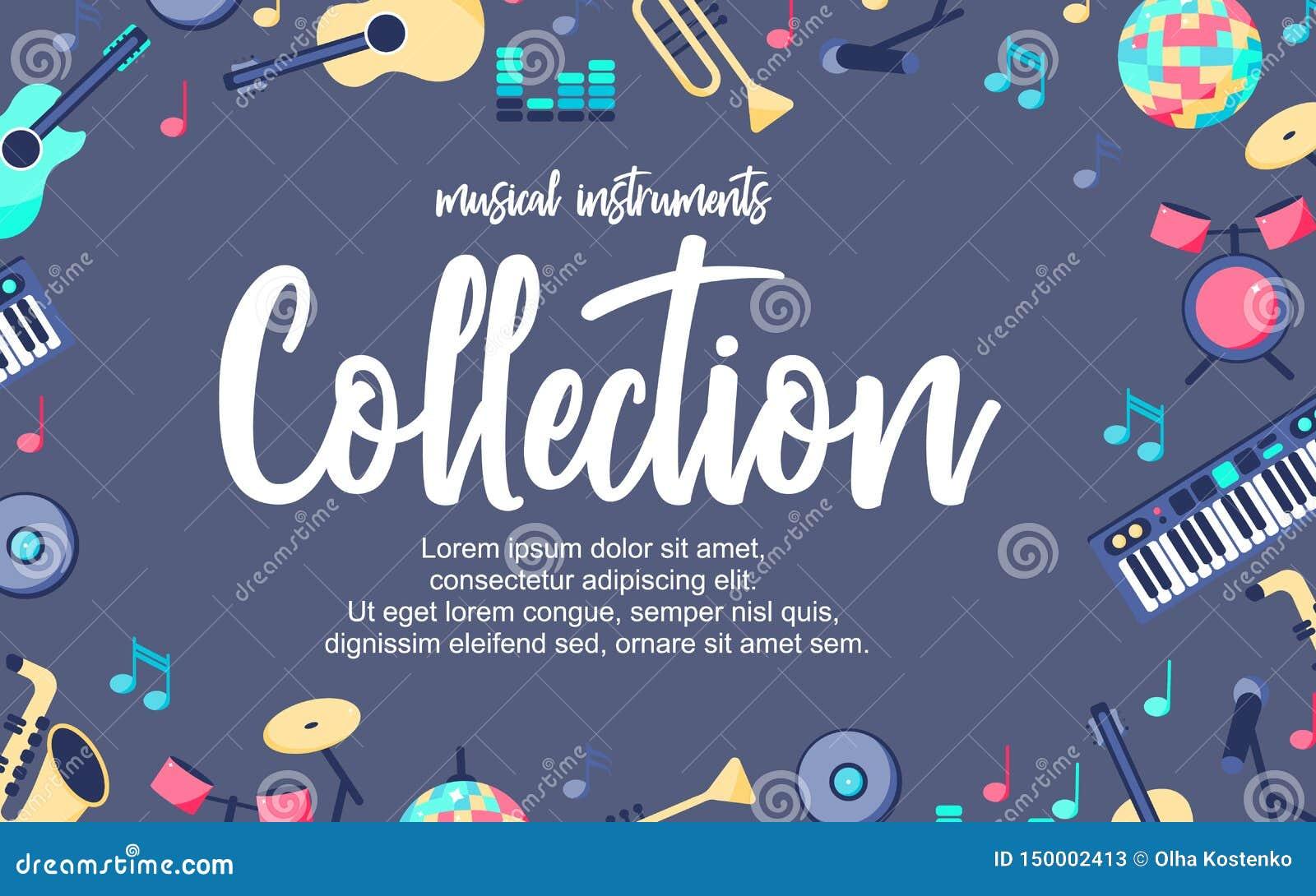 Cartaz com os instrumentos musicais no fundo azul cinzento Coleção musical dos intstuments com lugar adicional