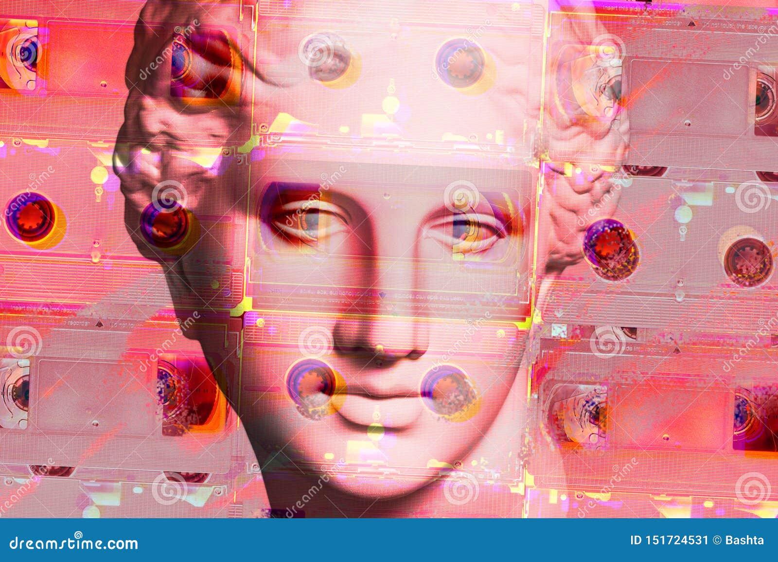Cartaz conceptual moderno da arte com a estátua antiga da cara e o cassete do VHS Colagem da arte contemporânea