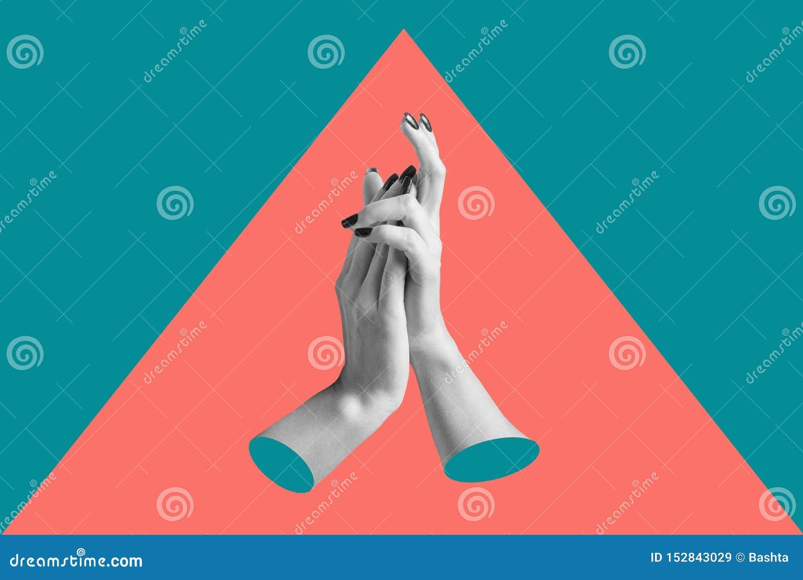 Cartaz conceptual moderno da arte com mãos em um estilo do massurrealism Colagem da arte contempor?nea