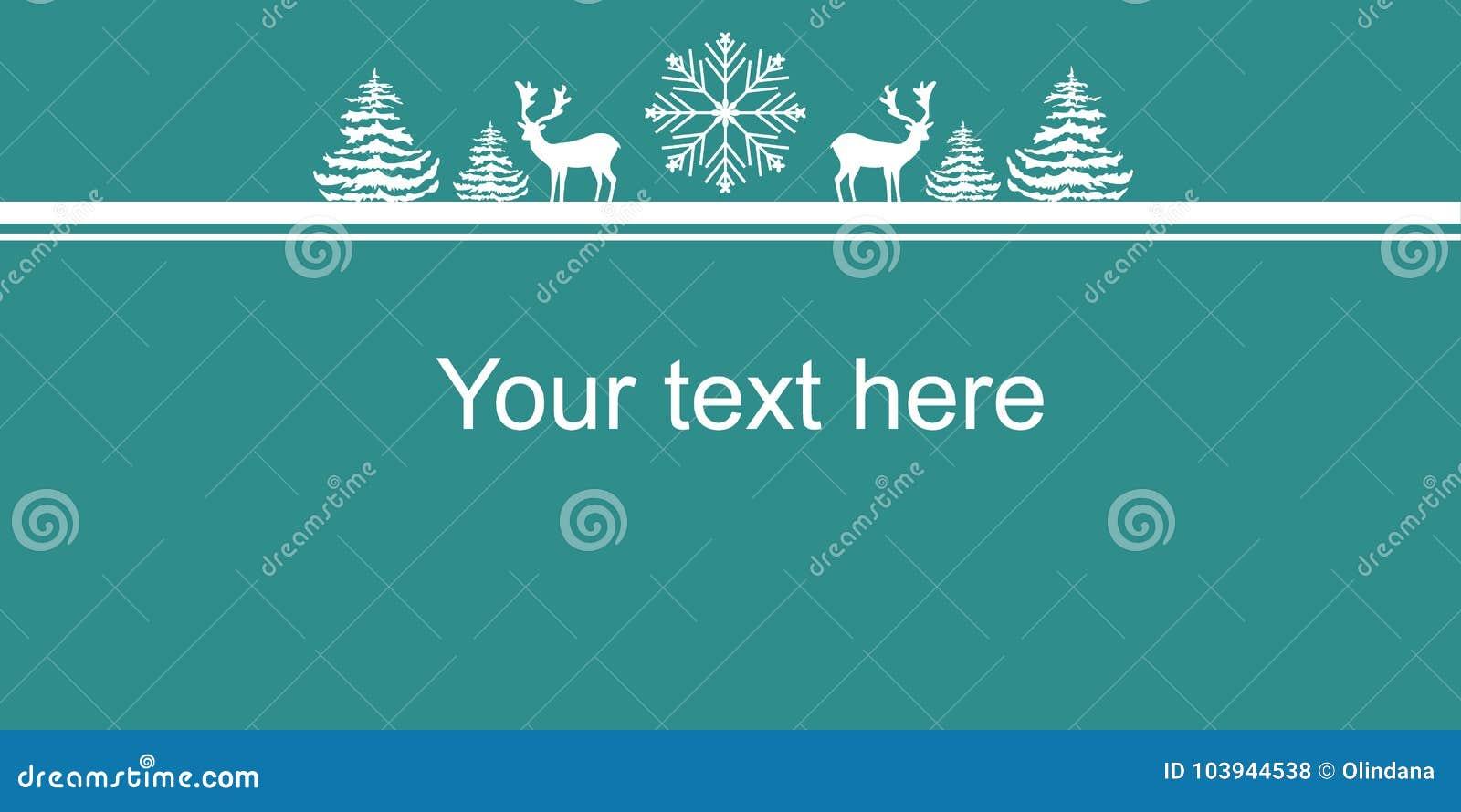 Cartaz da bandeira da Web dos anos novos do Natal Floco da neve dos abeto dos cervos das silhuetas do branco Espaço da cópia da b