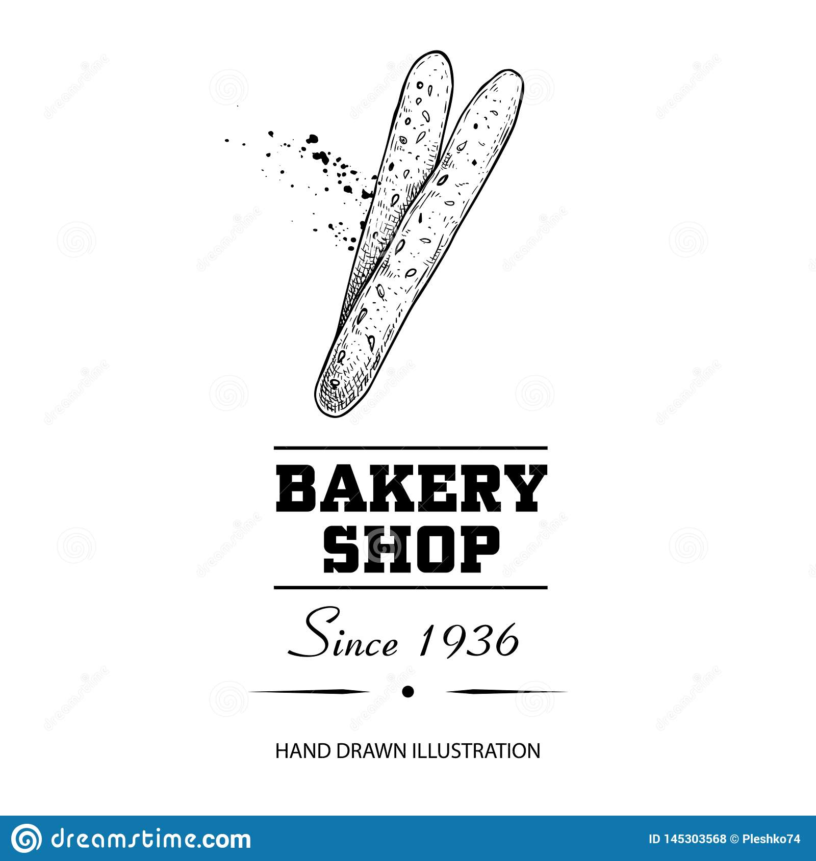 Cartaz da loja da padaria Grissini das varas de p?o da vista superior Entregue a ilustra??o tirada do vetor do estilo do esbo?o i