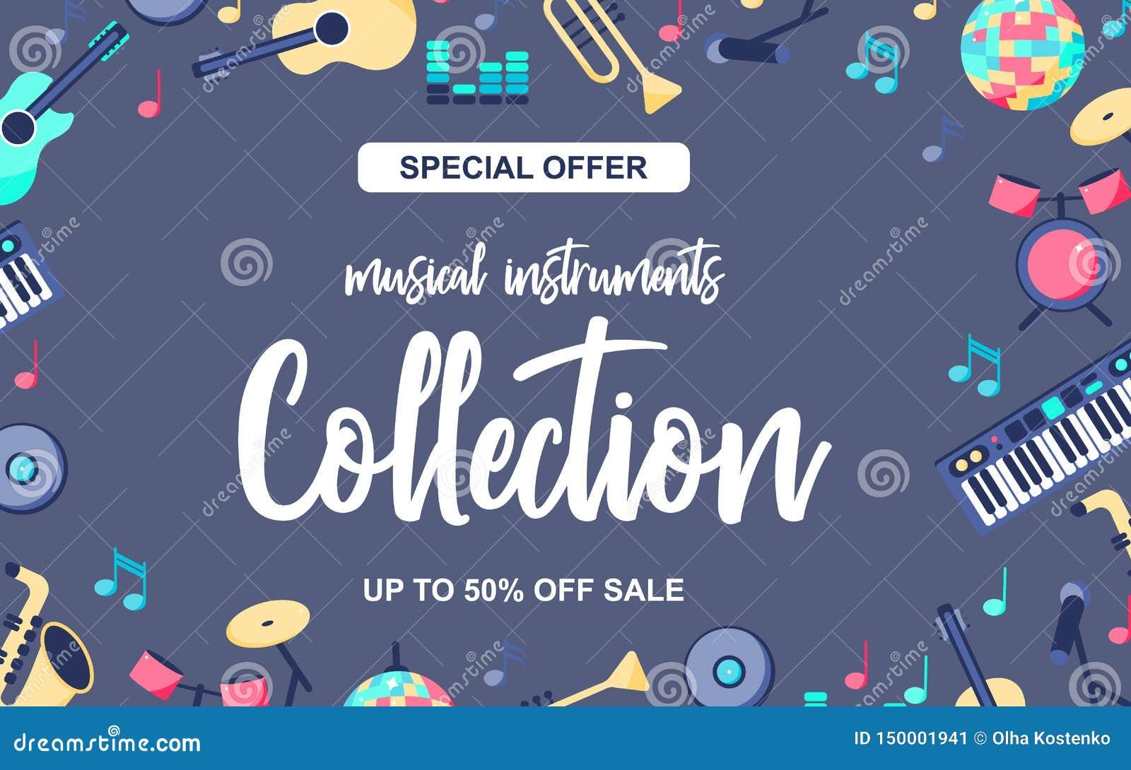 Cartaz da oferta especial com os instrumentos musicais no fundo azul cinzento Coleção musical dos intstuments com