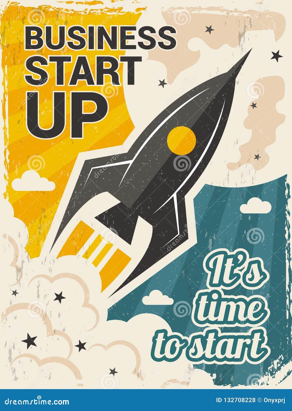 Cartaz da partida do vintage Conceito do lançamento do negócio com foguete ou cartaz do vetor do começo do vaivém espacial no est