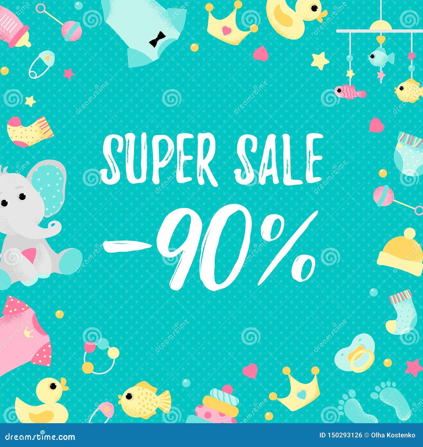 Cartaz da venda especial com elementos da festa do bebê