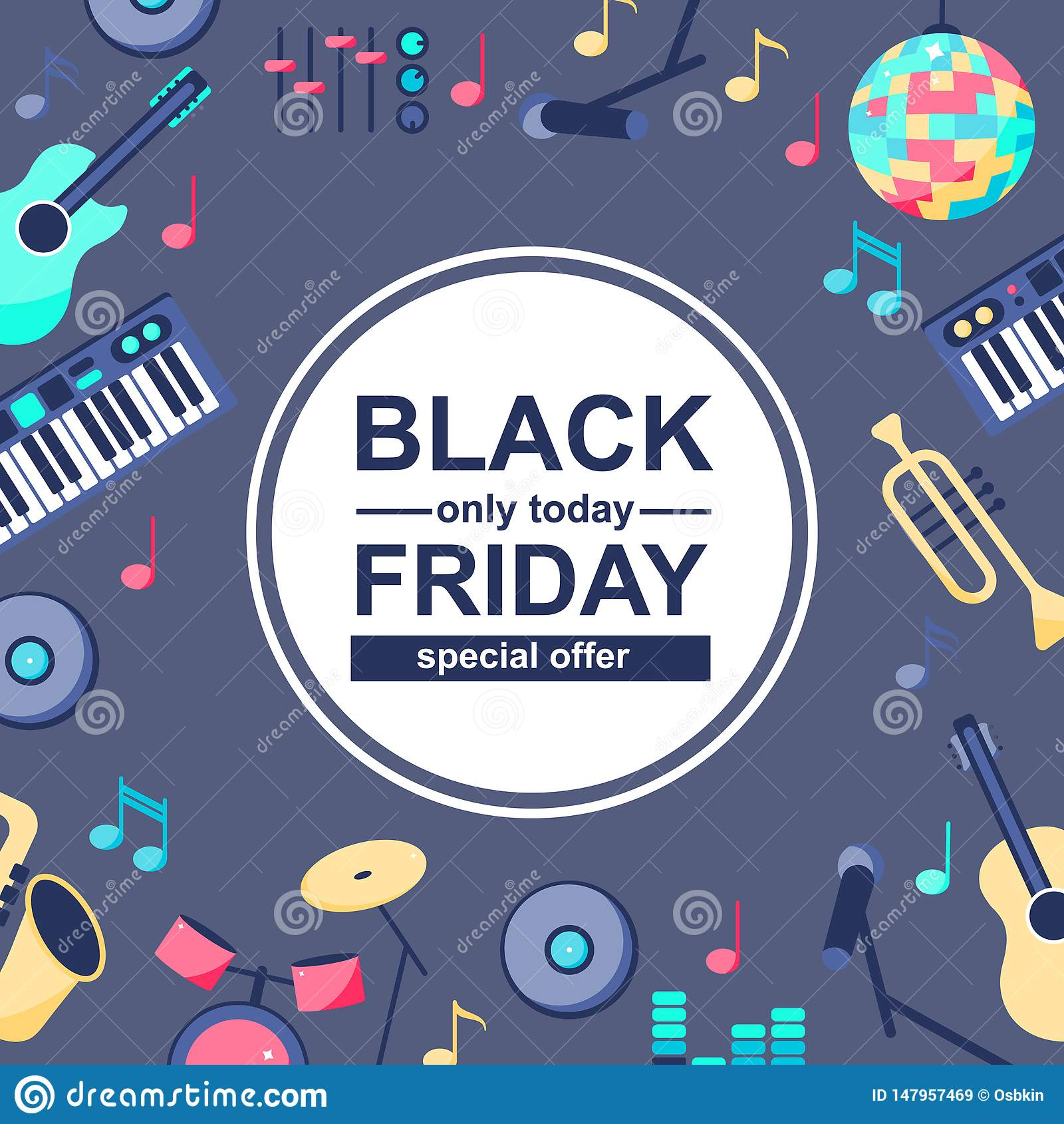 Cartaz da venda especial com instrumentos musicais