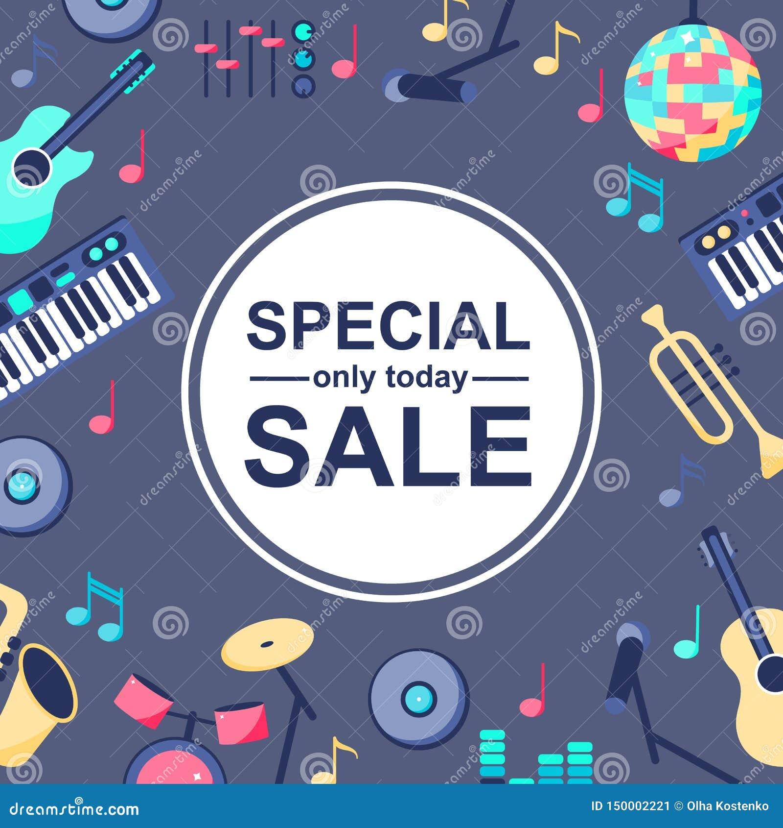 Cartaz da venda especial com os instrumentos musicais no fundo azul cinzento Backgroud para projetos diferentes: cartão,