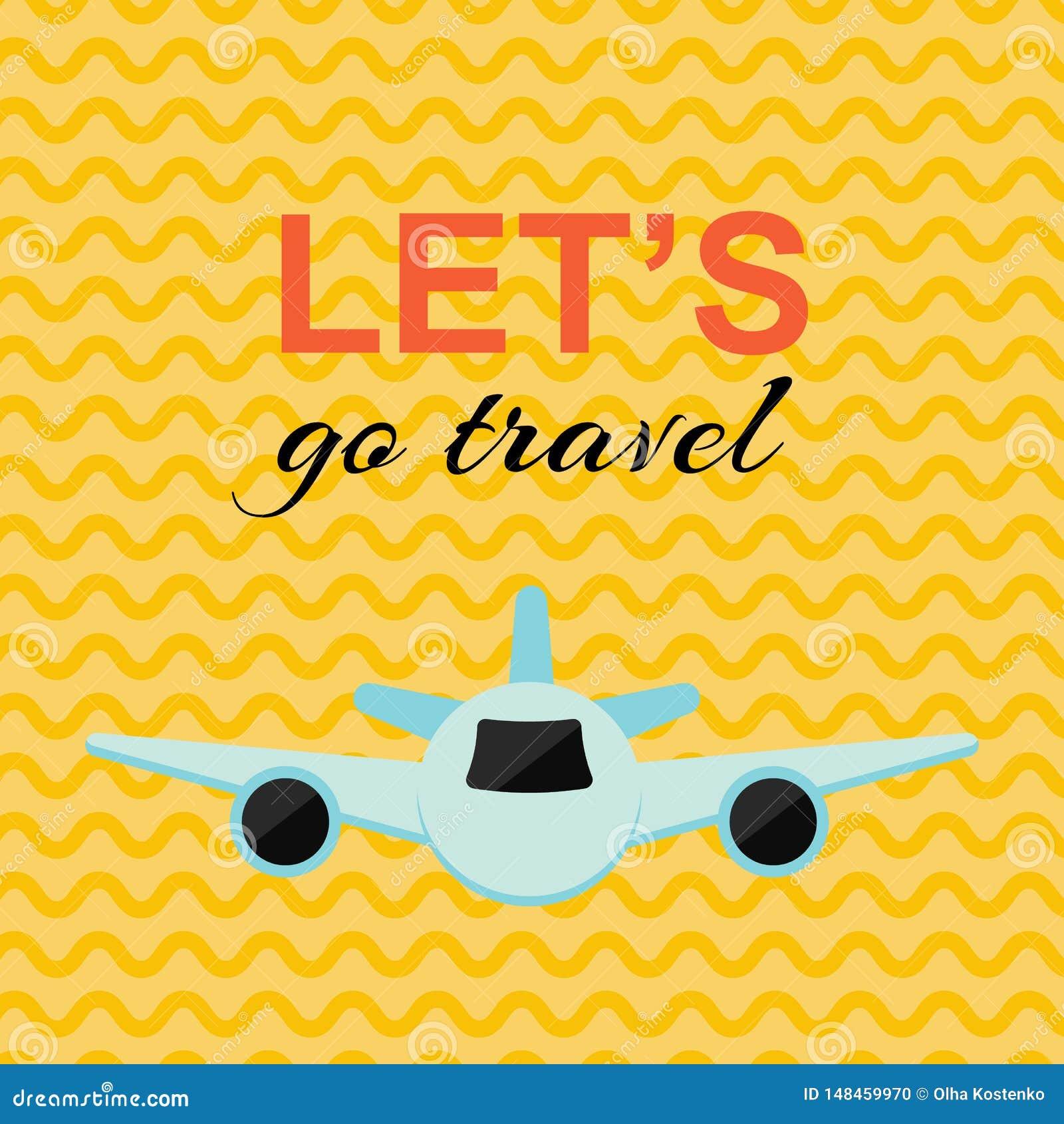 Cartaz de viagem com o plano e o fundo amarelo