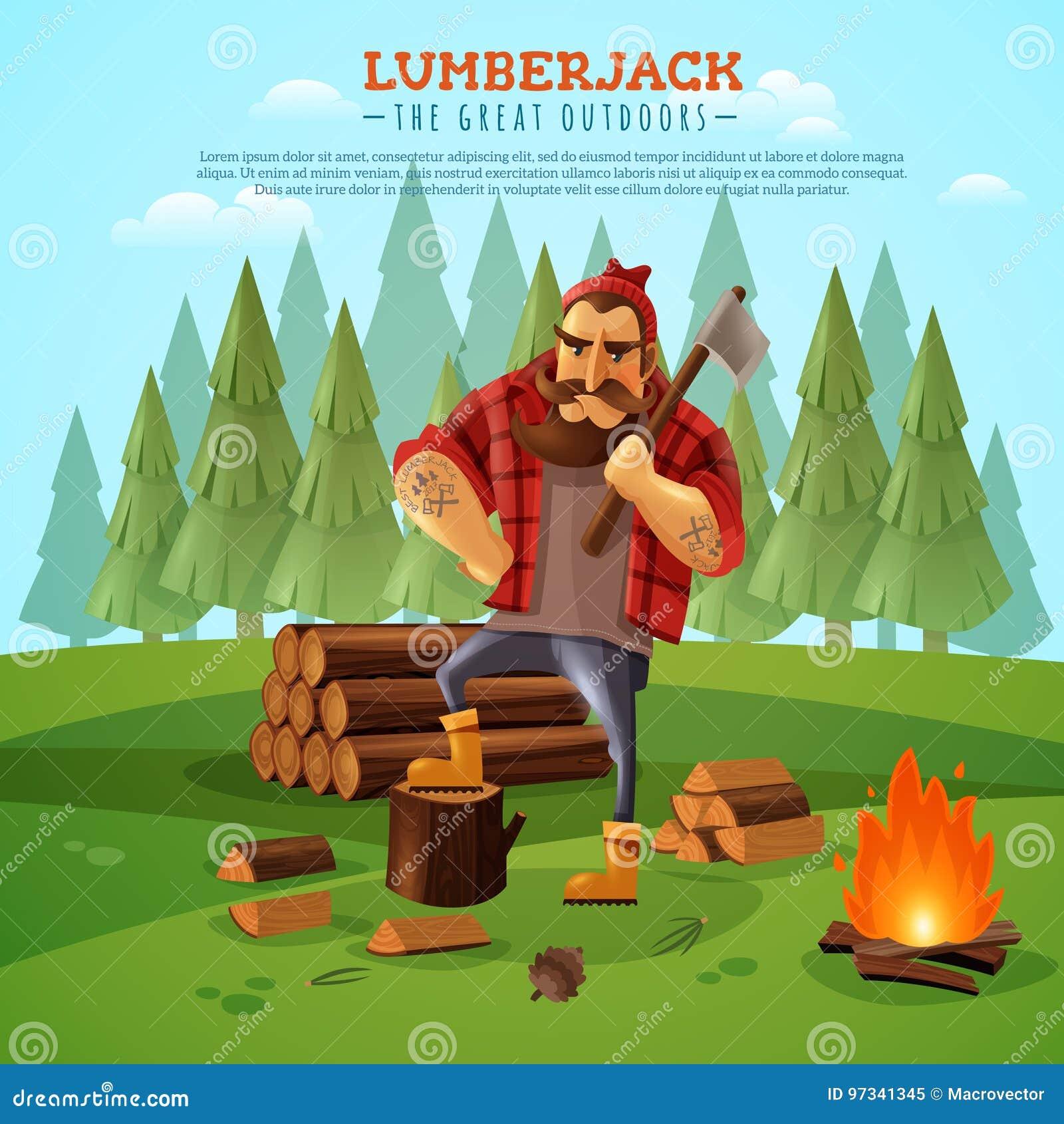 Cartaz de Woodsman Outdoors Cartoon do lenhador